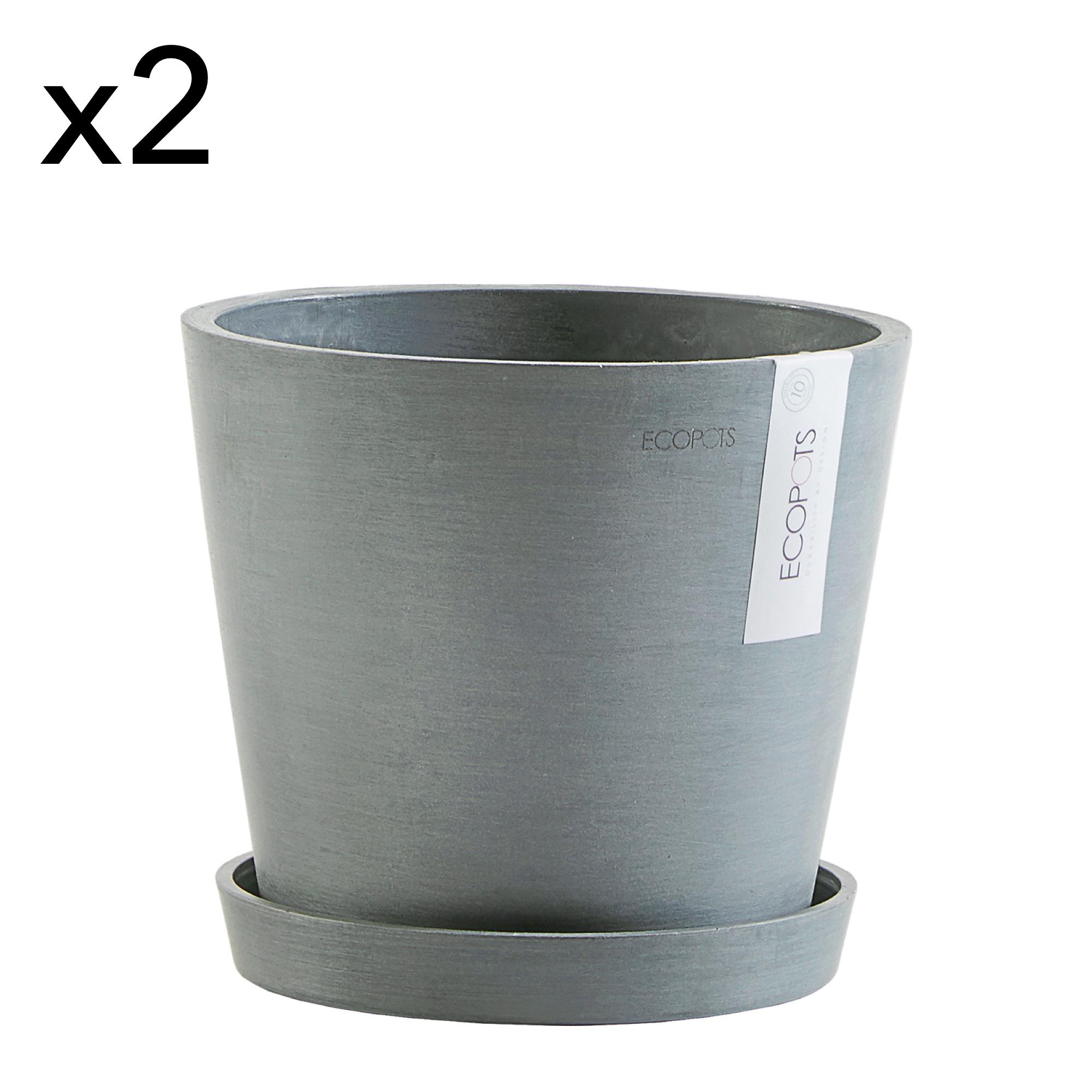 Lot de 2 pots de fleurs avec soucoupe bleu gris D20
