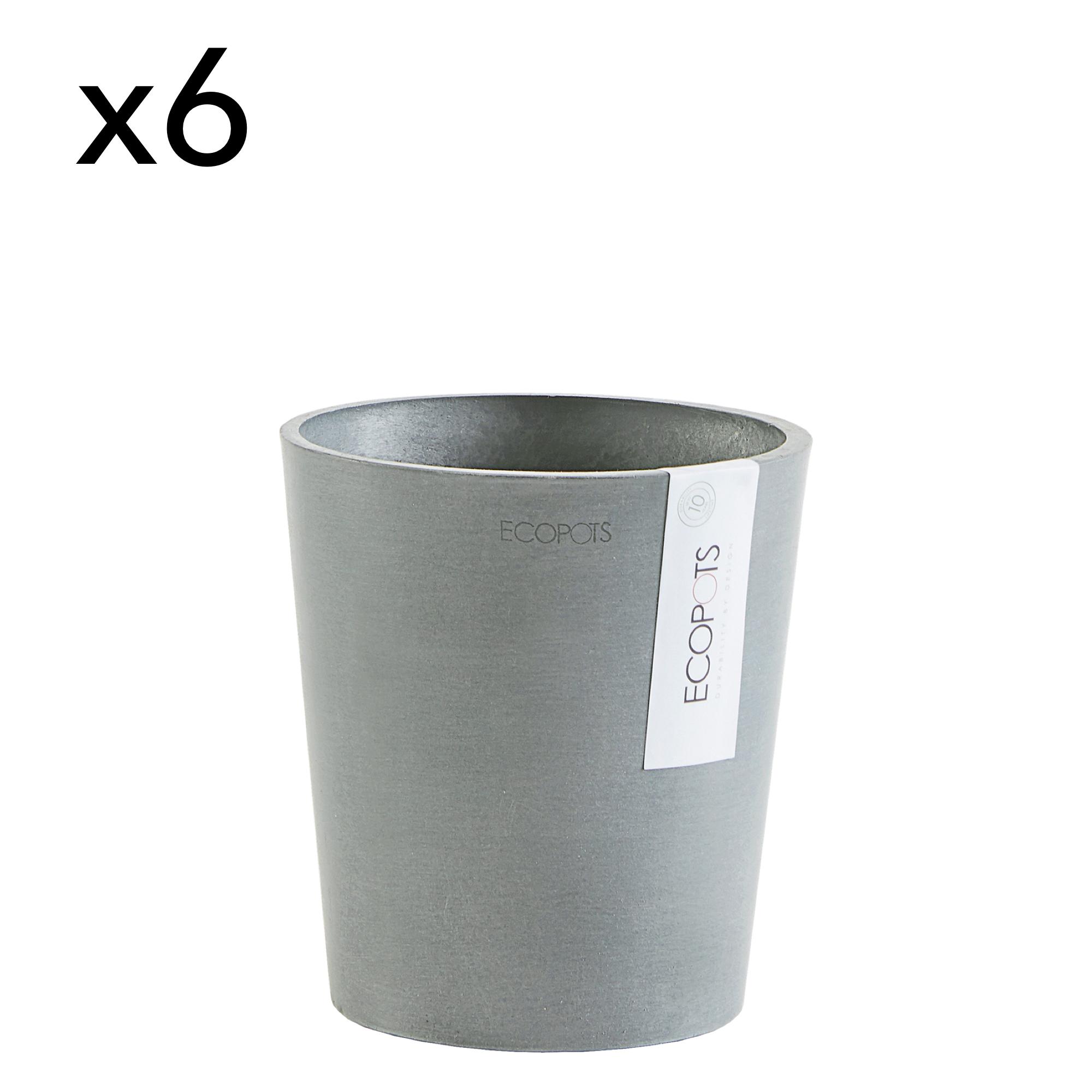 Lot de 6 pots de fleurs bleu grey D14