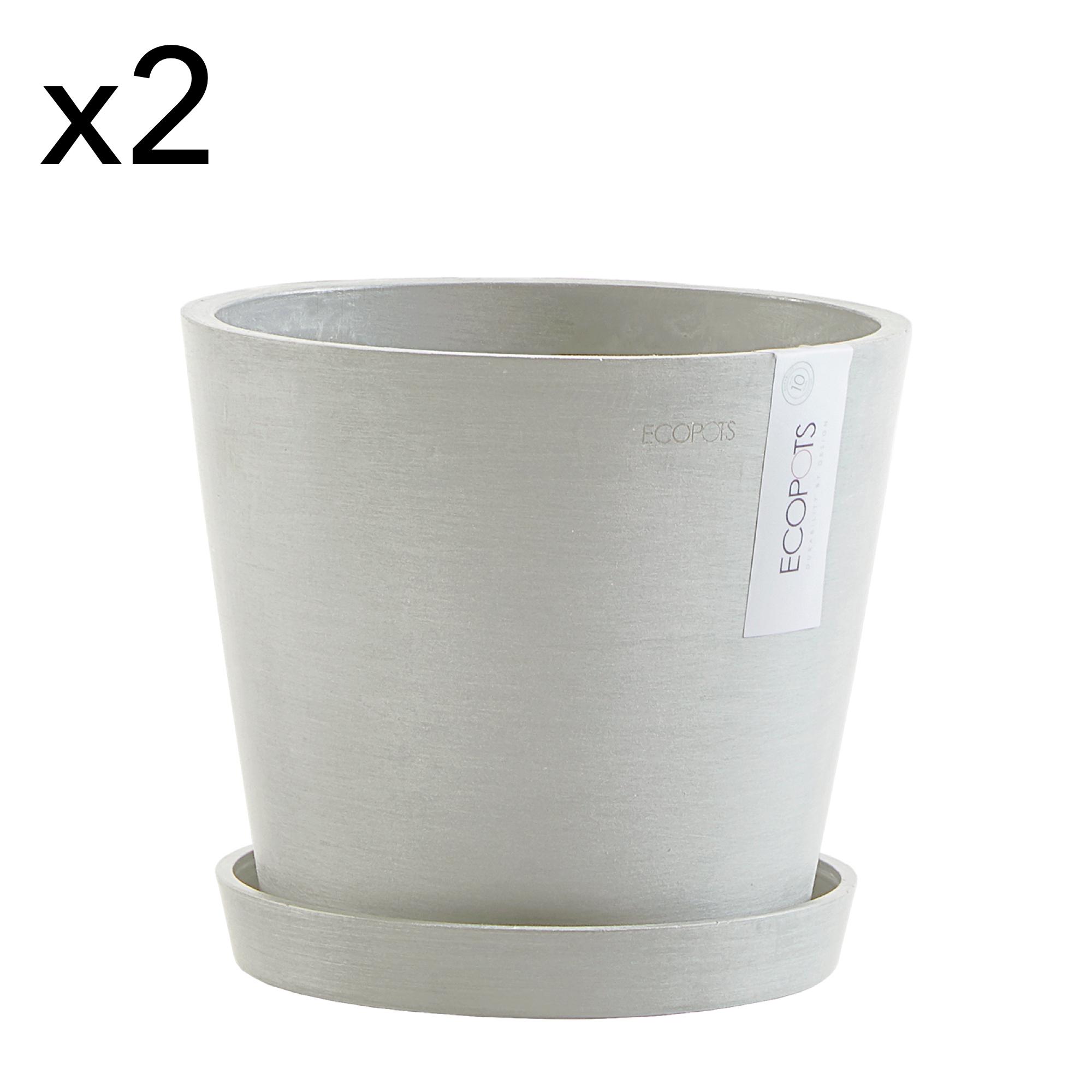 Lot de 2 pots de fleurs avec soucoupe blanc gris D20
