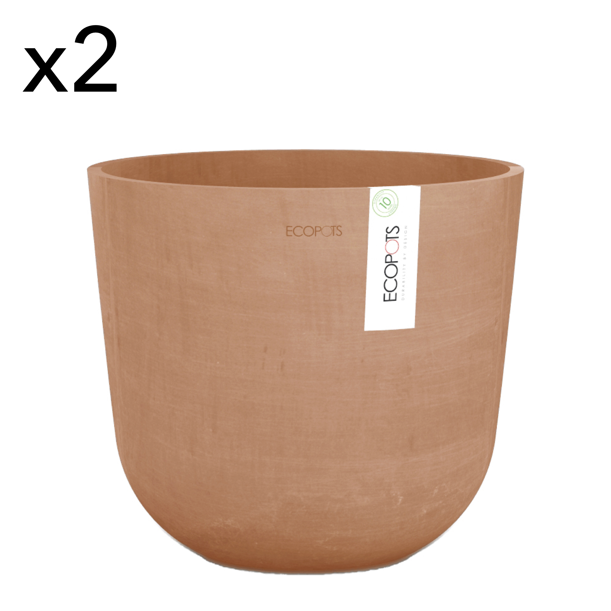 Lot de 2 pots de fleurs terracotta D25