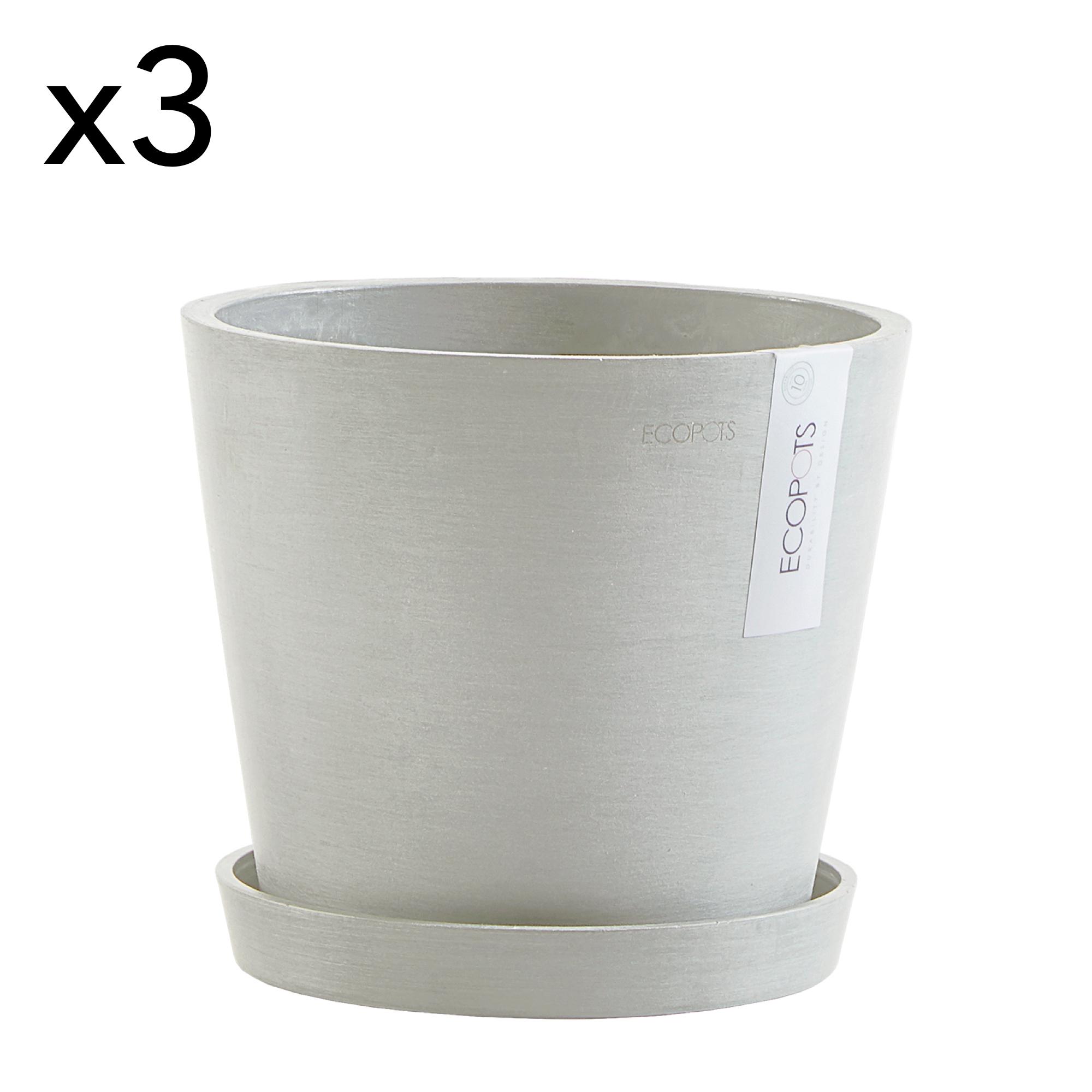 Lot de 3 pots de fleurs avec soucoupe blanc gris D20