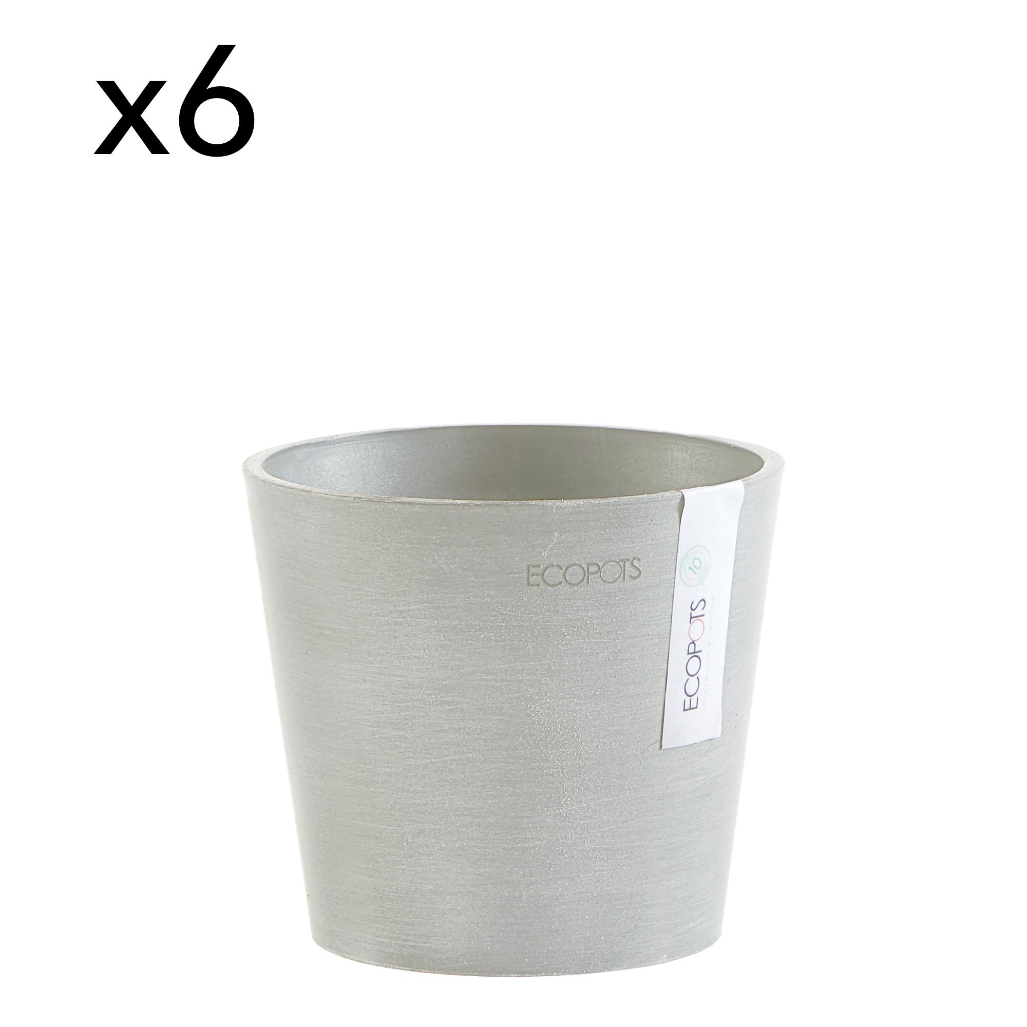 Lot de 6 pots de fleurs blanc gris D13