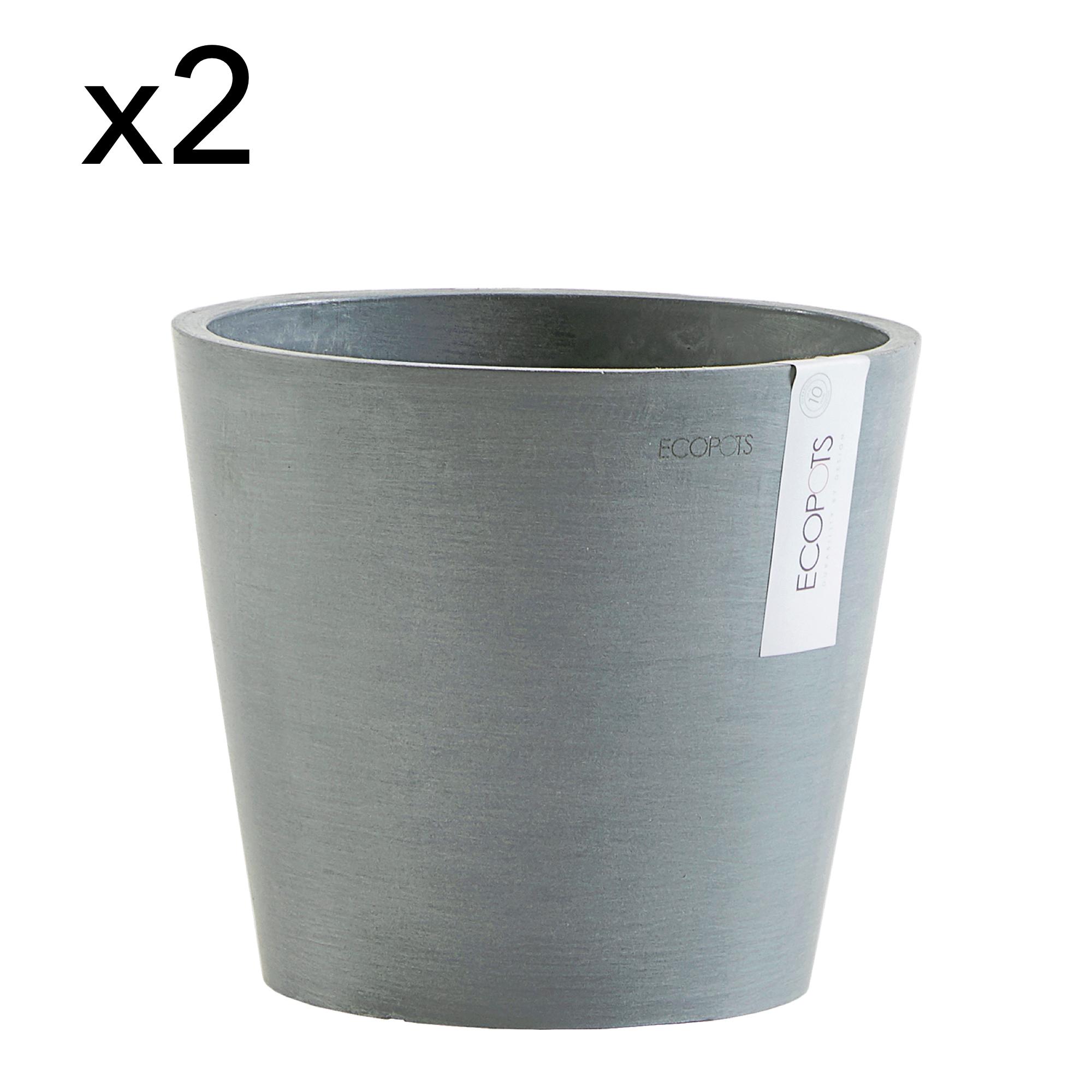 Lot de 2 pots de fleurs bleu gris D20