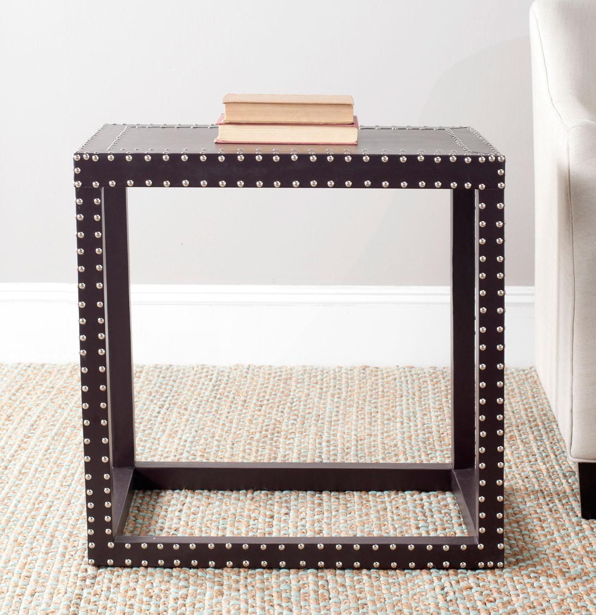 Table d'appoint en bois et similicuir gris charbon