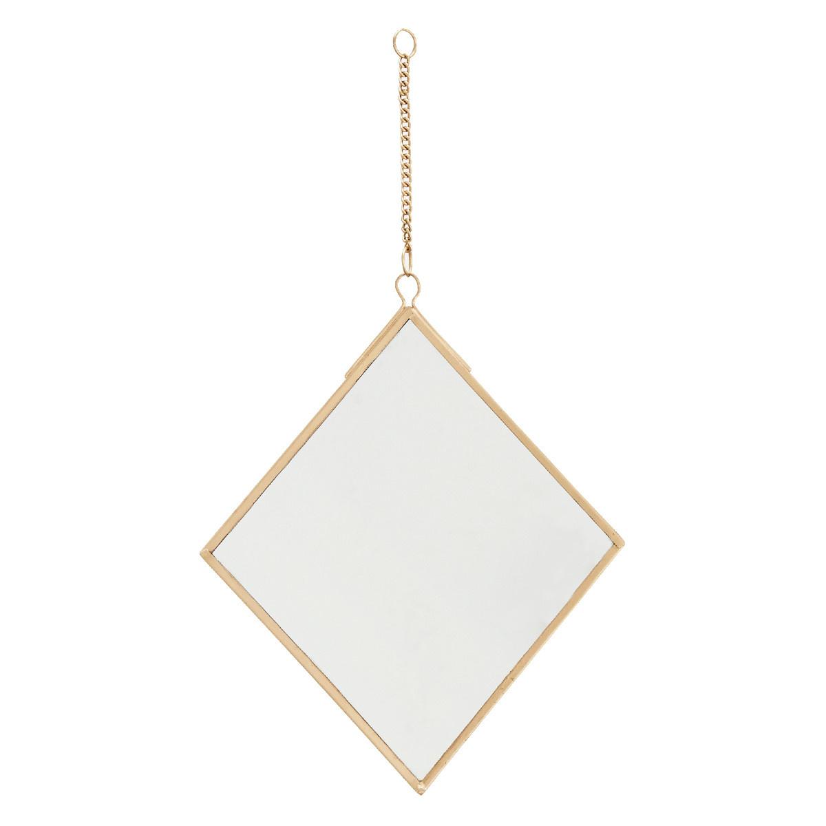 Miroir décoratif forme losange métal doré 15x17
