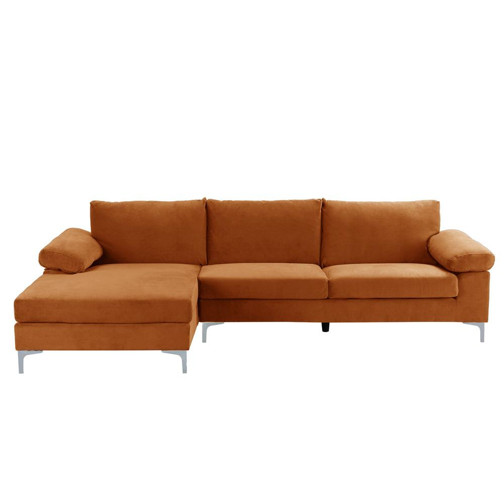 Canapé d'angle 5 places tissu velours camel
