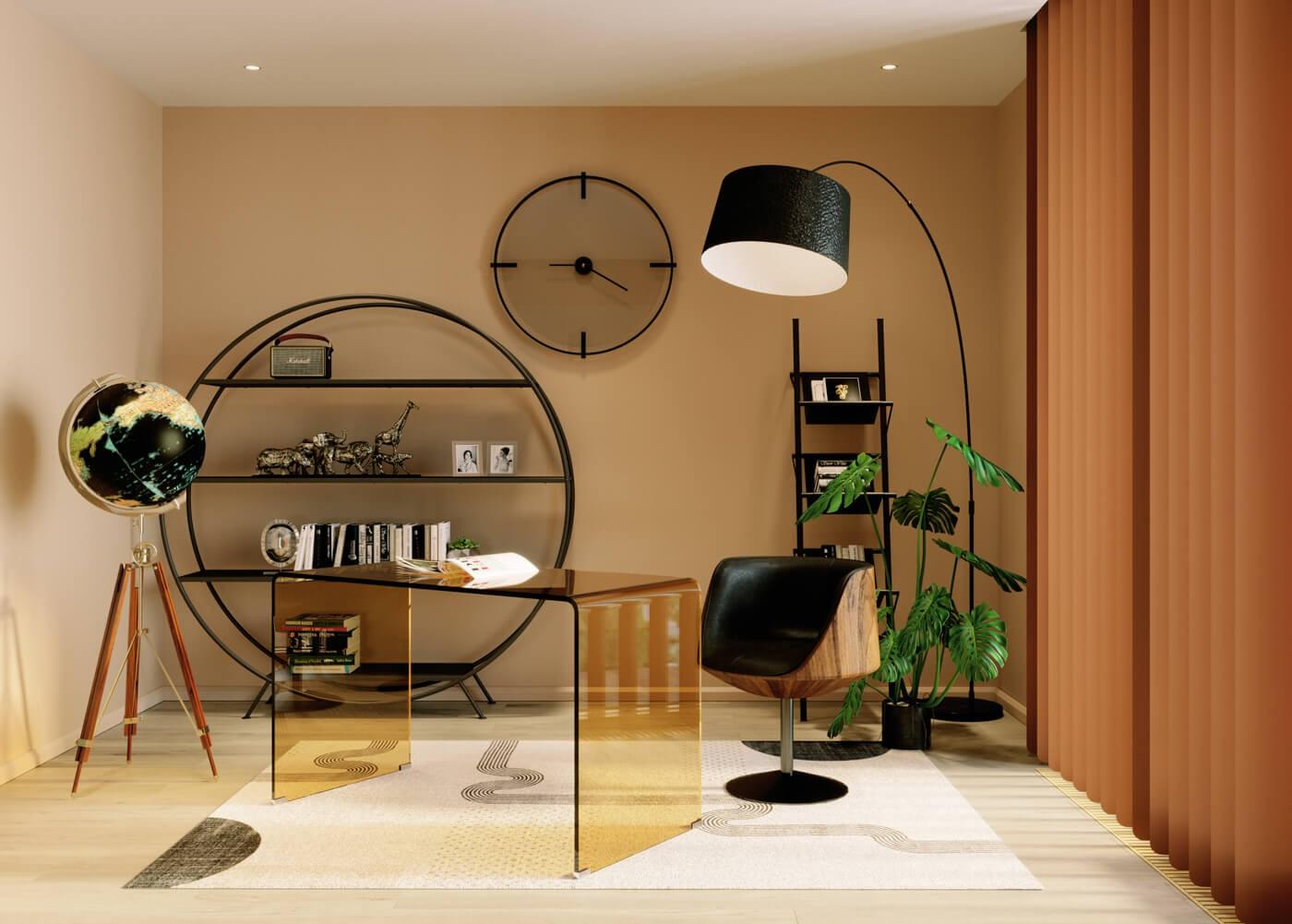 Bureau en verre coloré marron