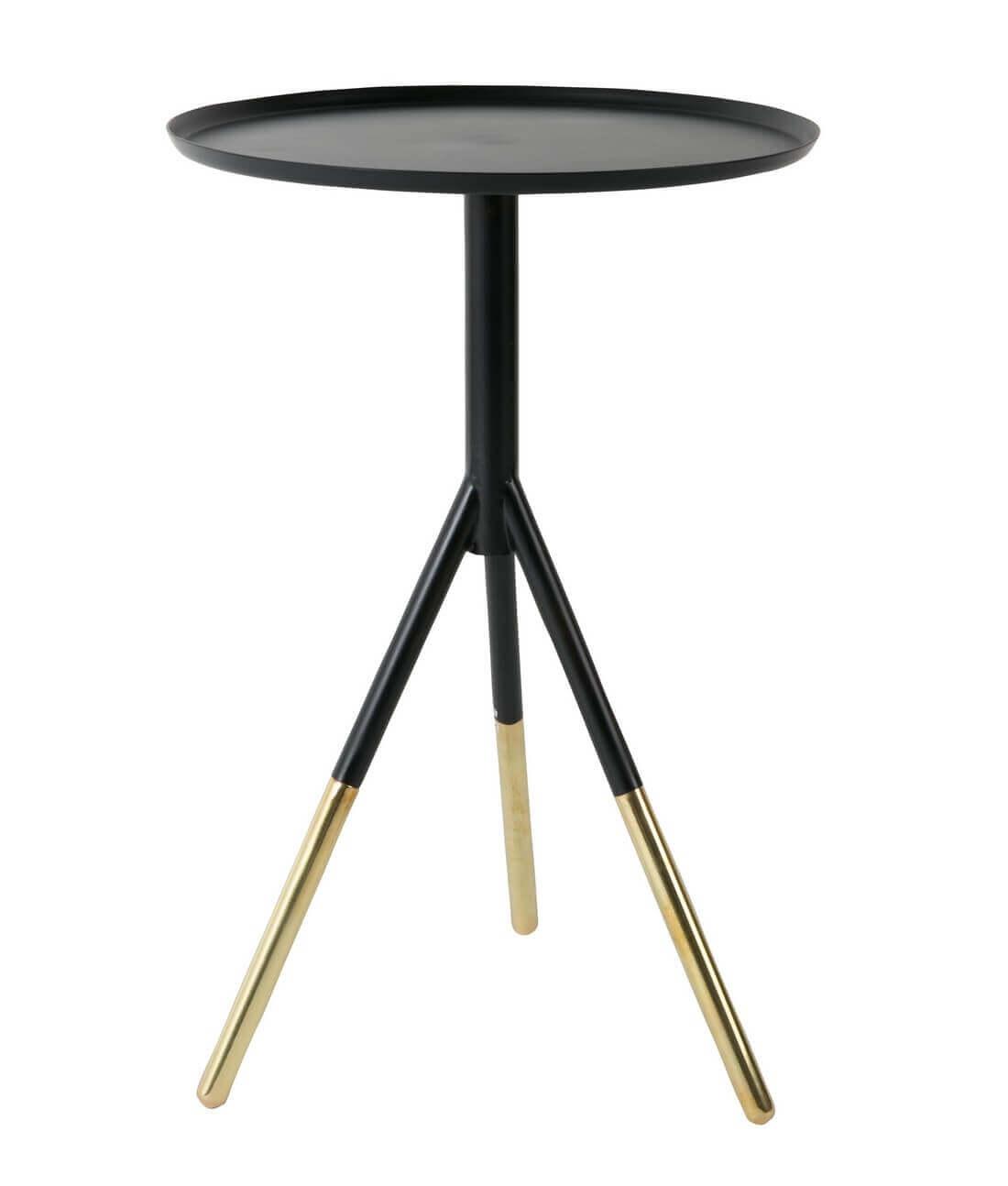 Table d'appoint ronde en acier et laiton