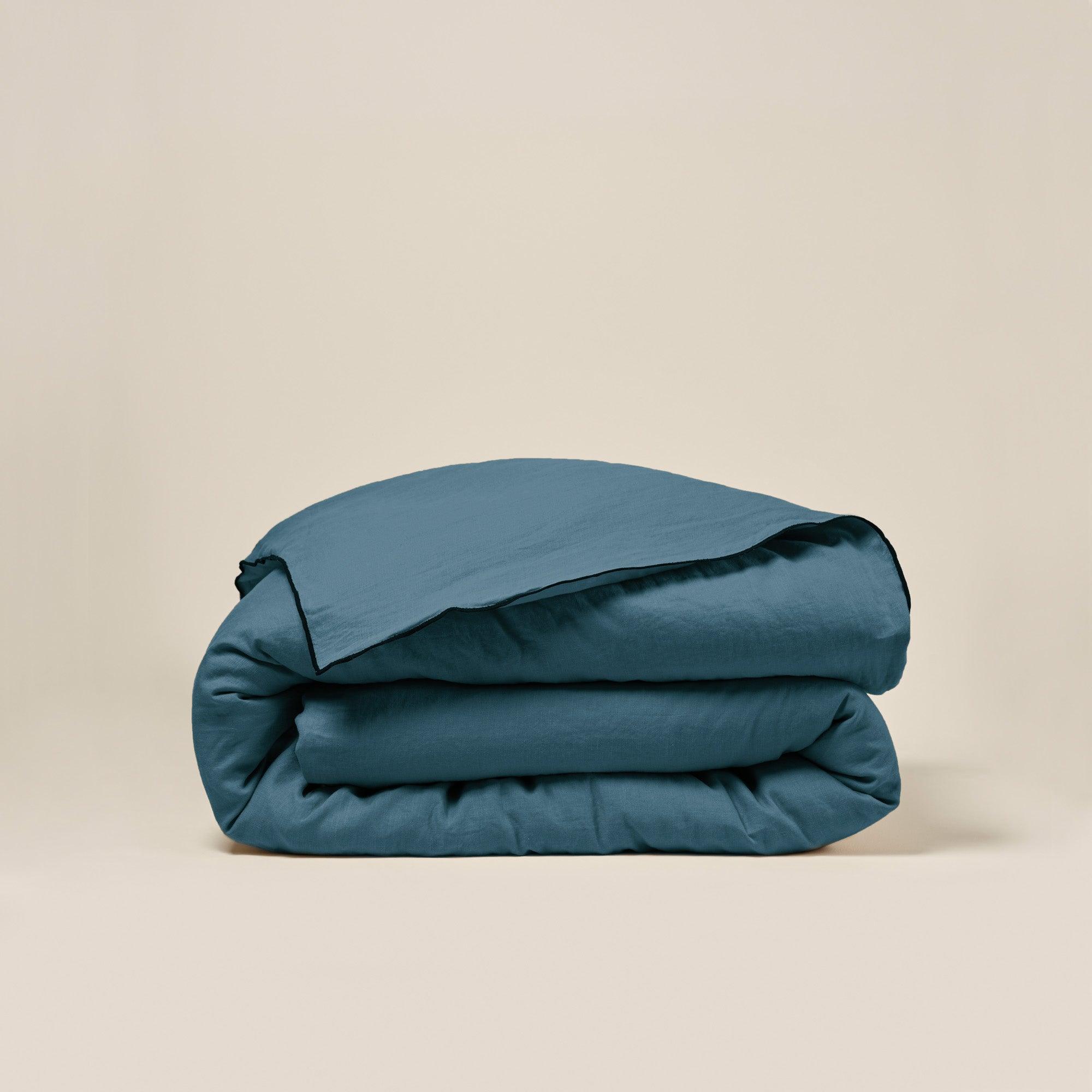 Housse de couette 140x200 cm Bleu vert et bourdon noir en Lin
