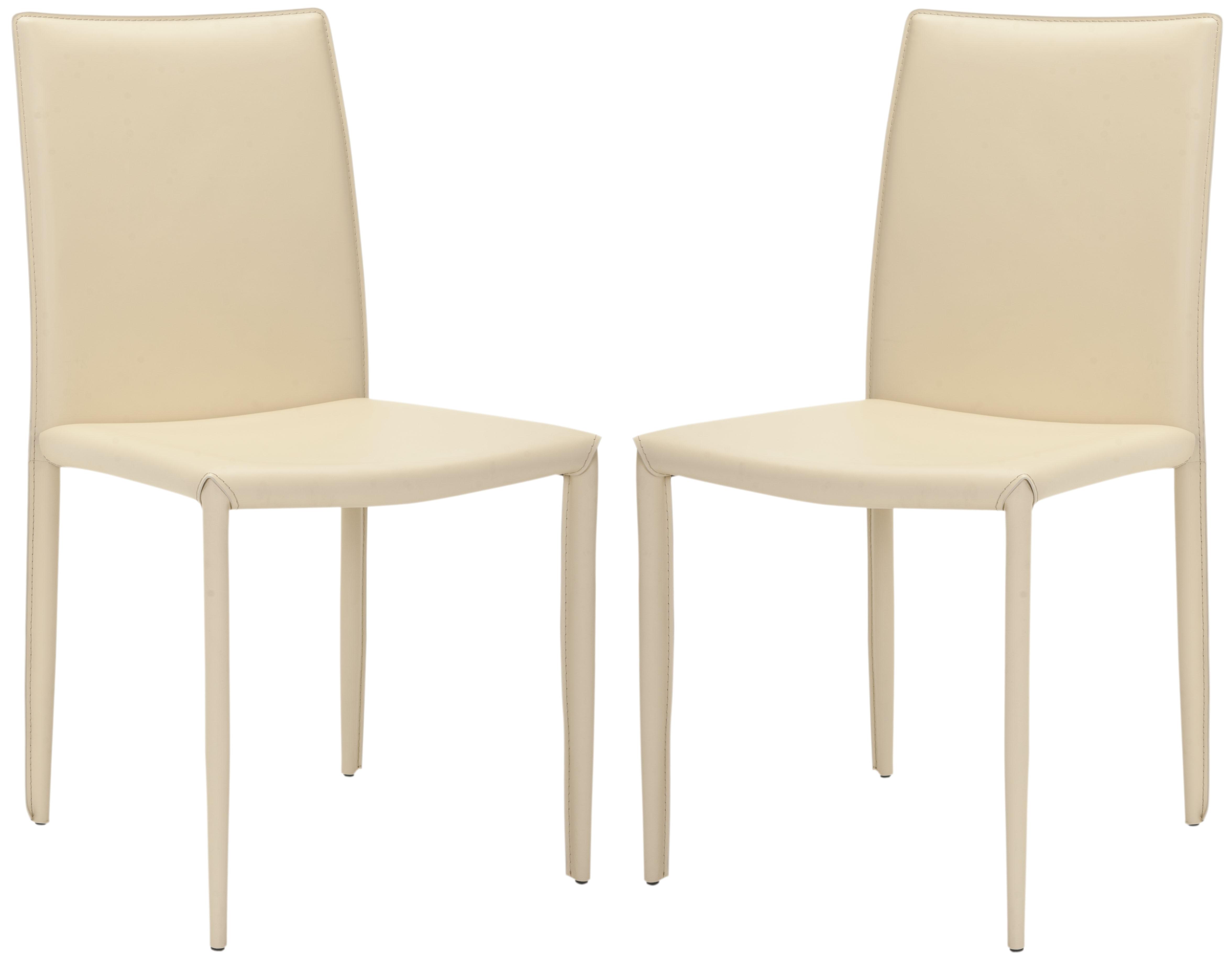 Chaise de table en métal et cuir crème (x2)