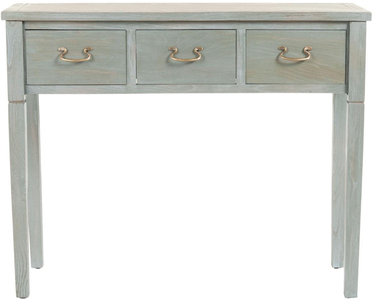 Console 3 tiroirs en bois d'orme gris cendré