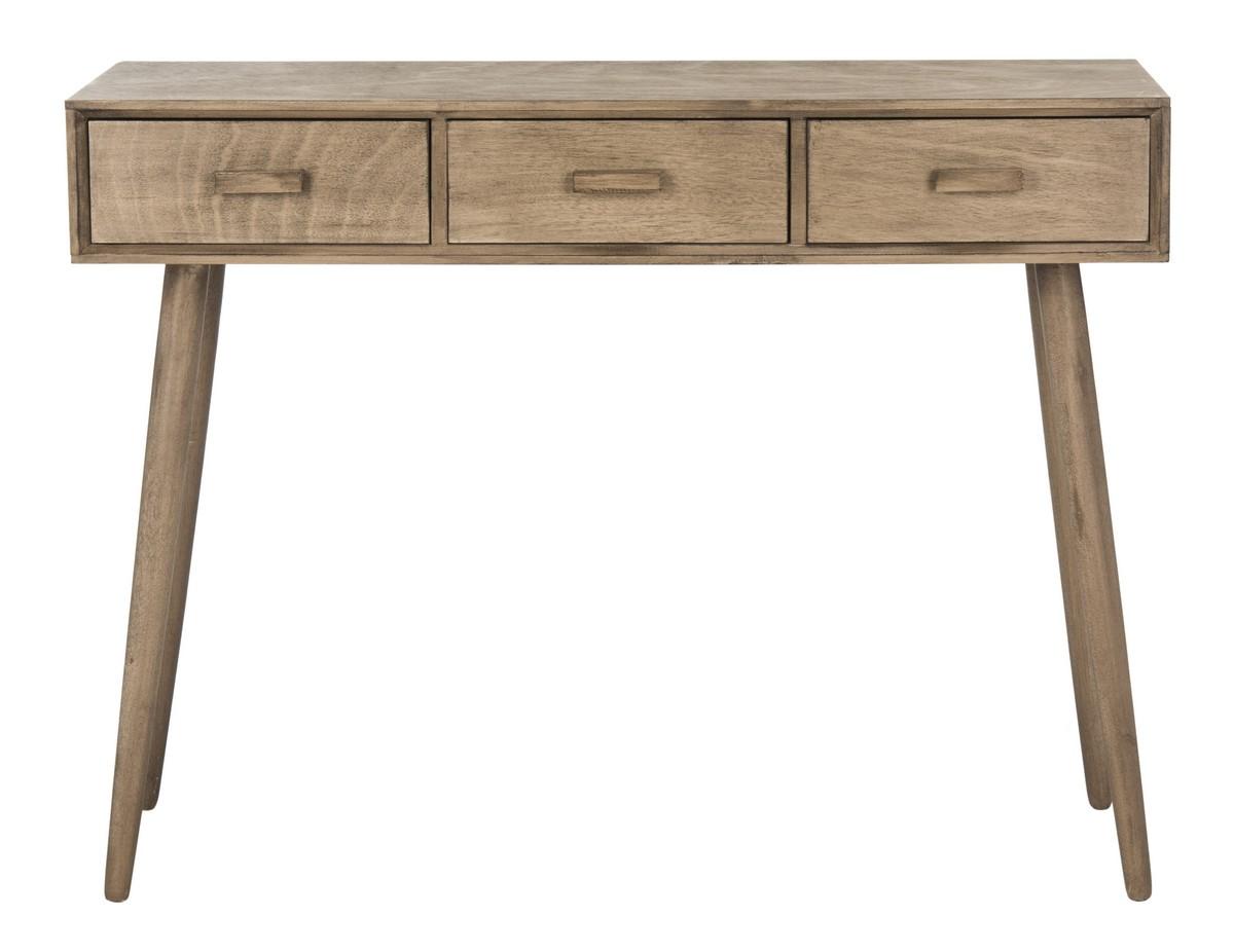Console 3 tiroirs en bois de pin marron