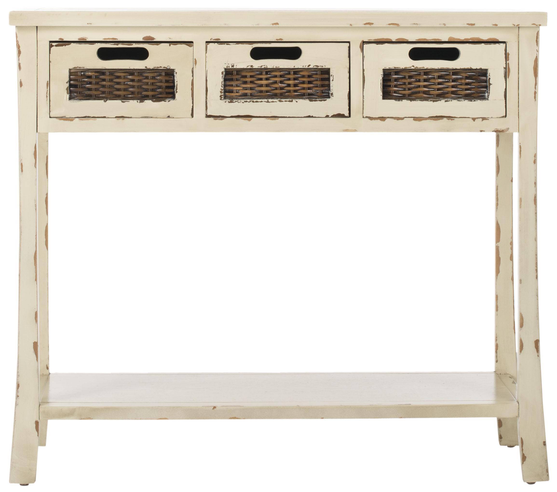 Console 3 tiroirs en bois de peuplier crème