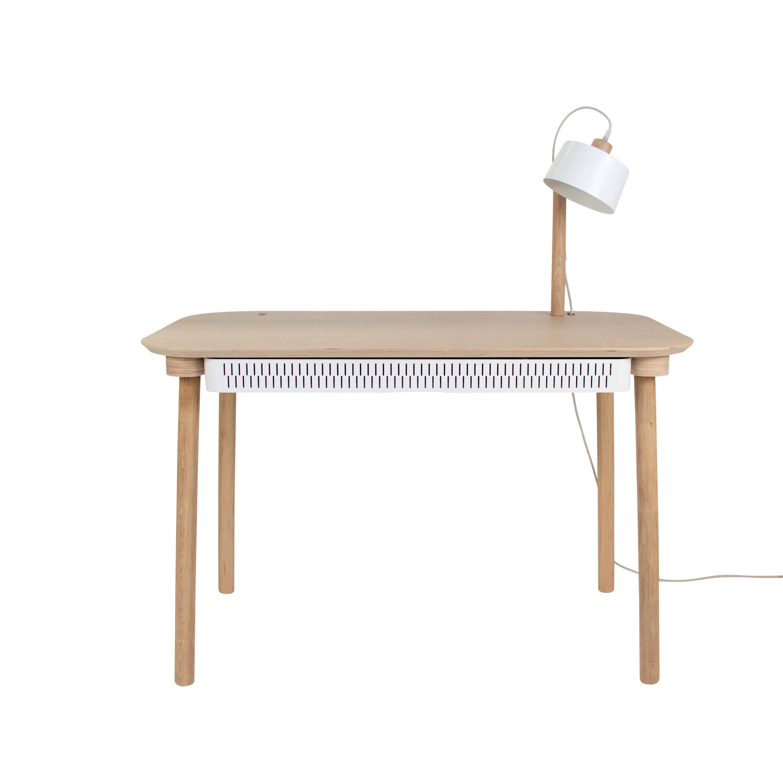 Bureau en chêne avec lampe et tiroir en métal blanc