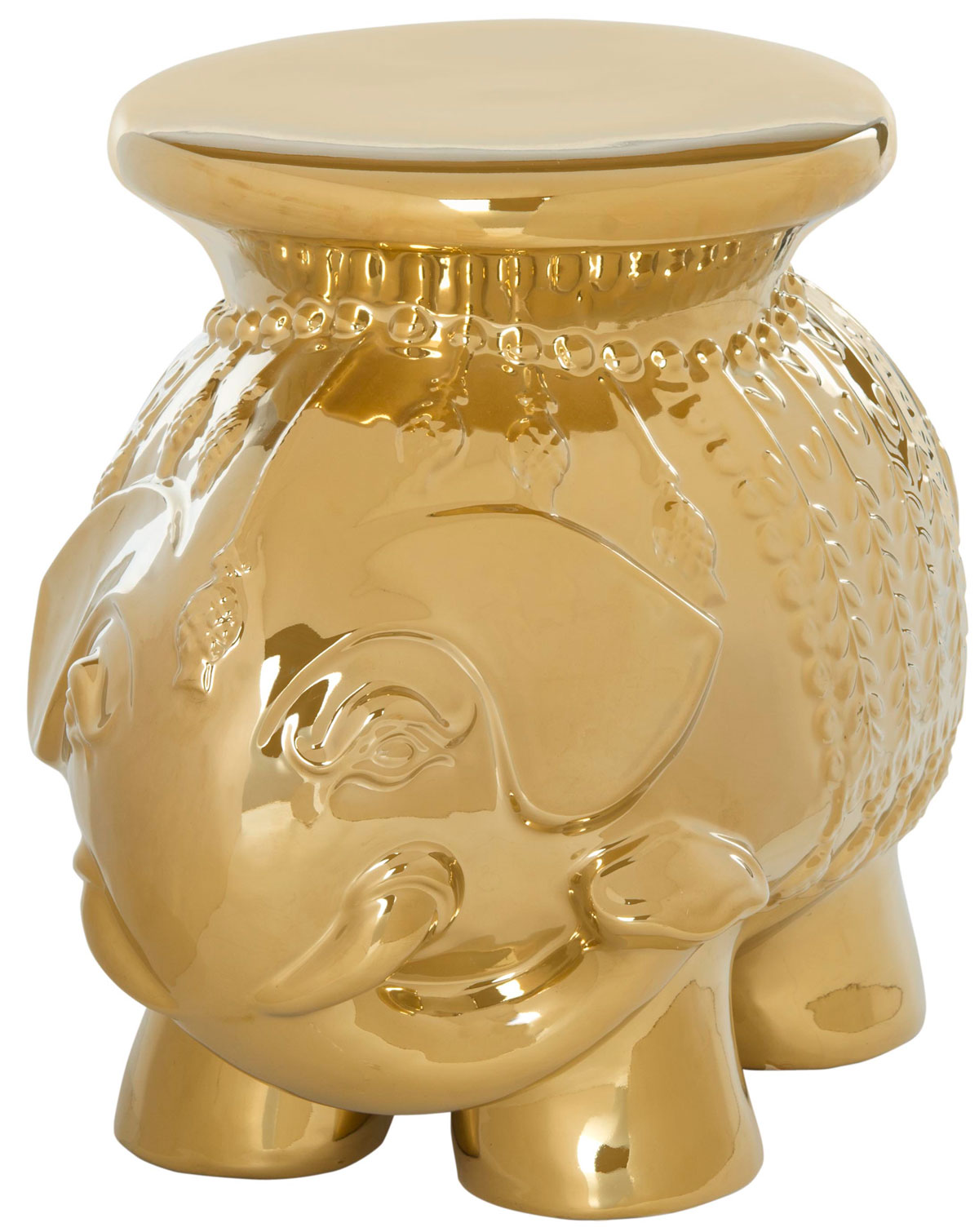 Tabouret en céramique émaillée or