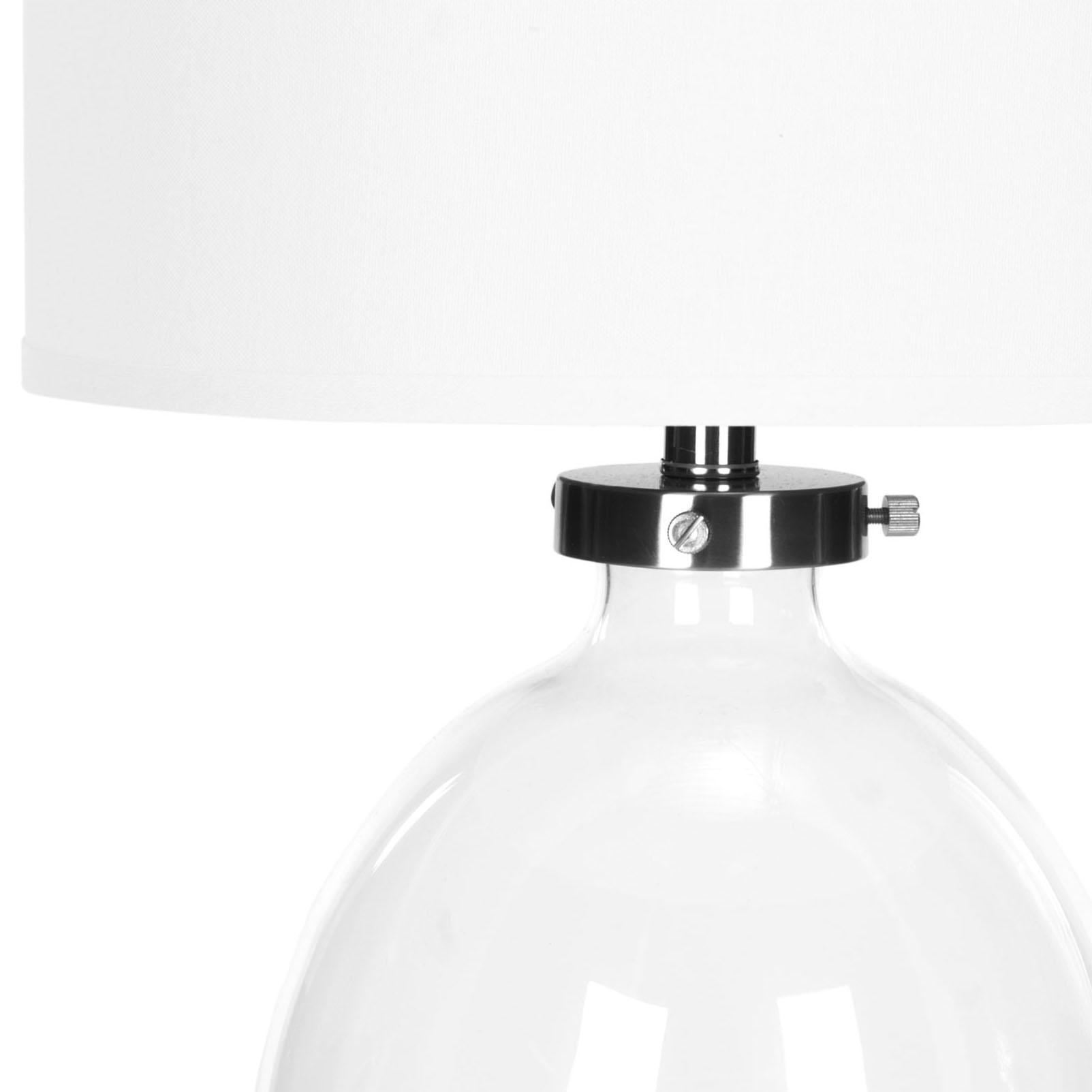 Lampe à poser abat-jour 100% coton et pied en fer et verre blanc (x2)