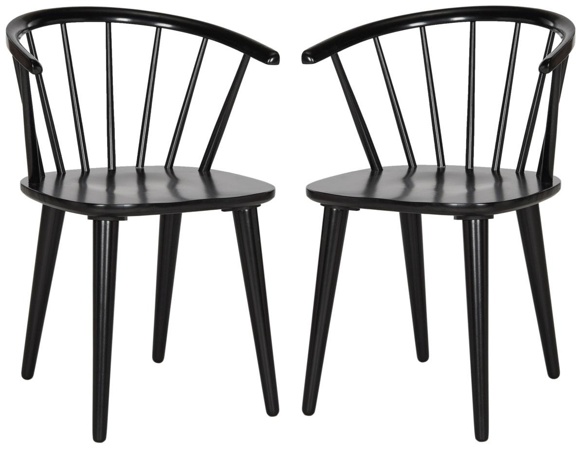 Chaise de table en hévéa noir (x2)