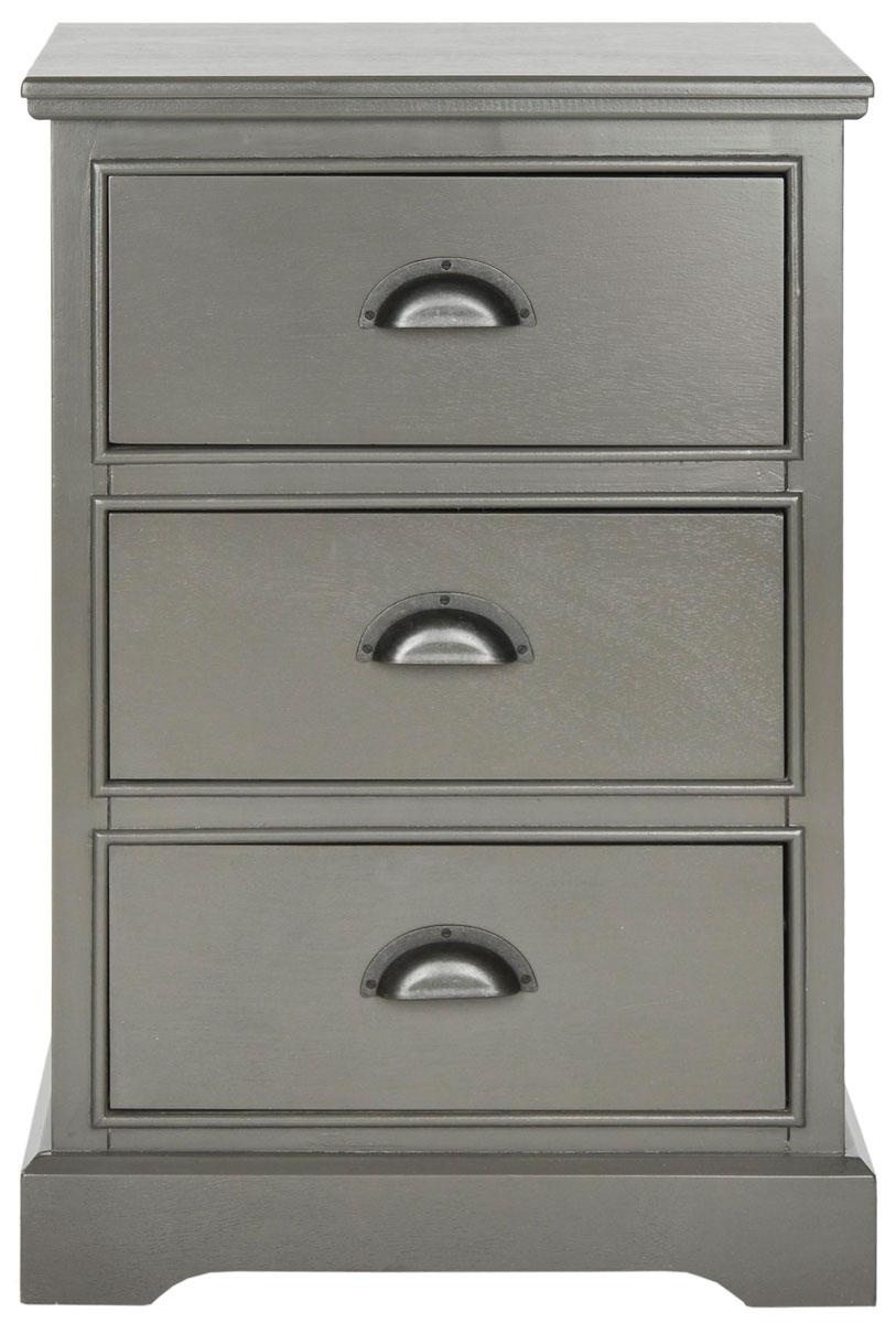Table d'appoint 3 tiroirs en bois de pin gris