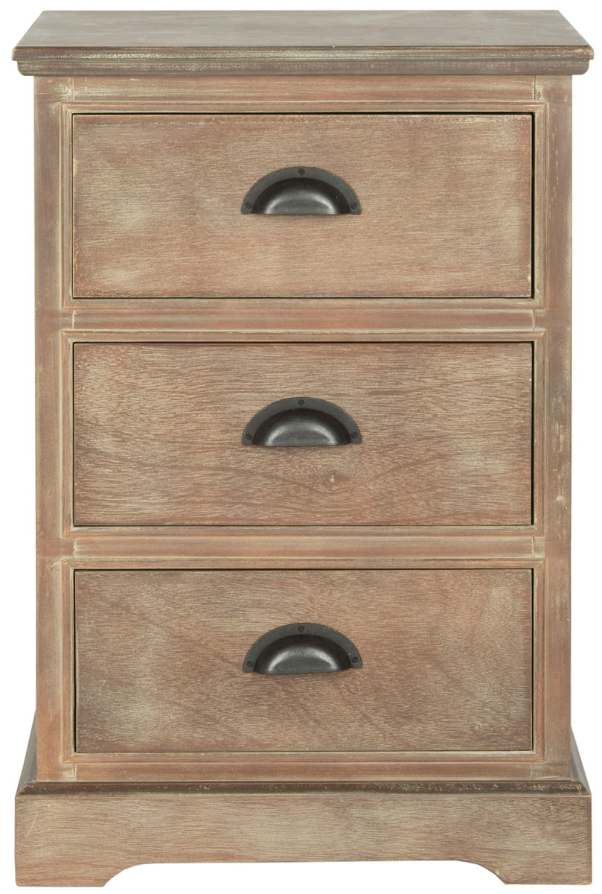 Table d'appoint 3 tiroirs en bois de pin moka