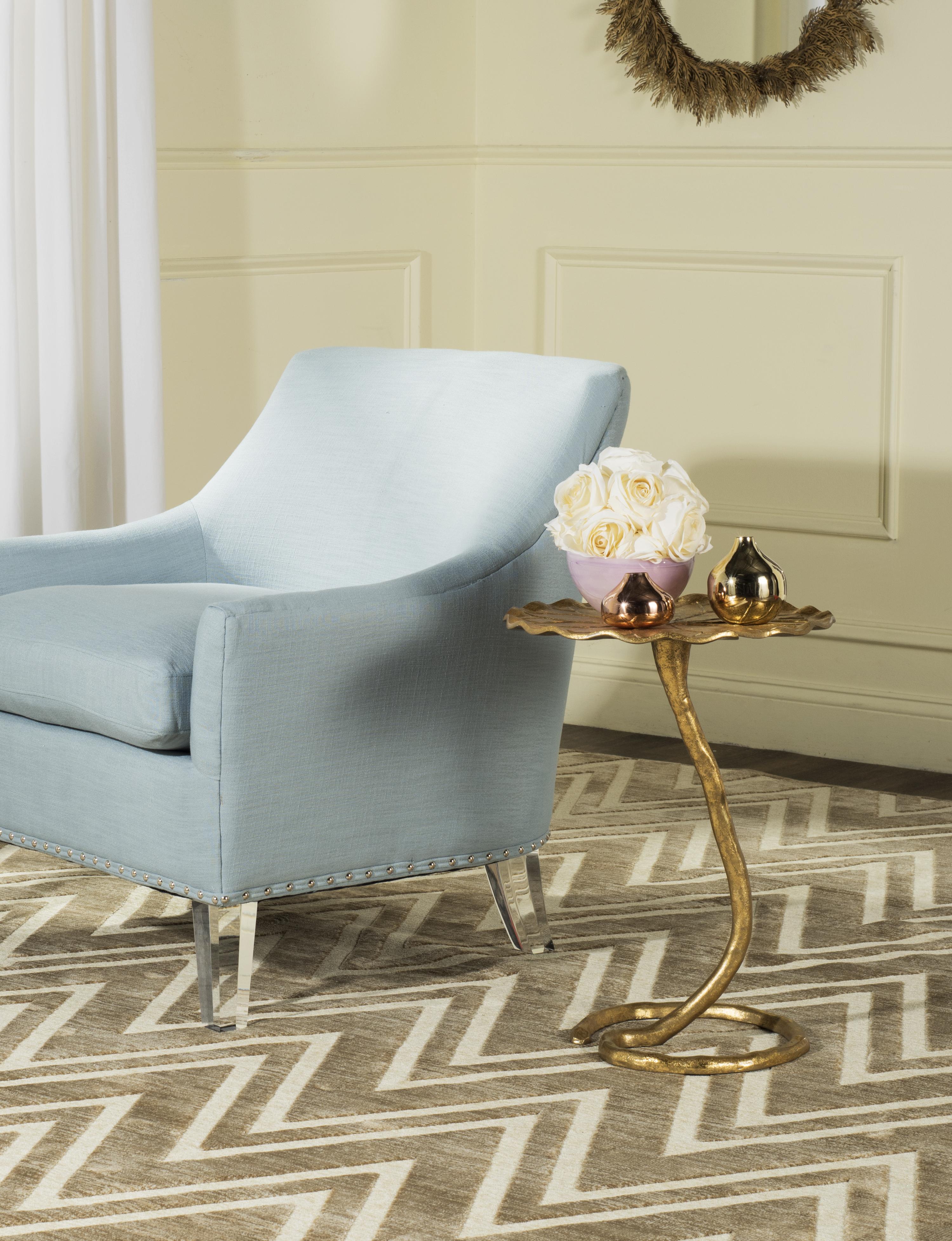 Table d'appoint en aluminium argenté