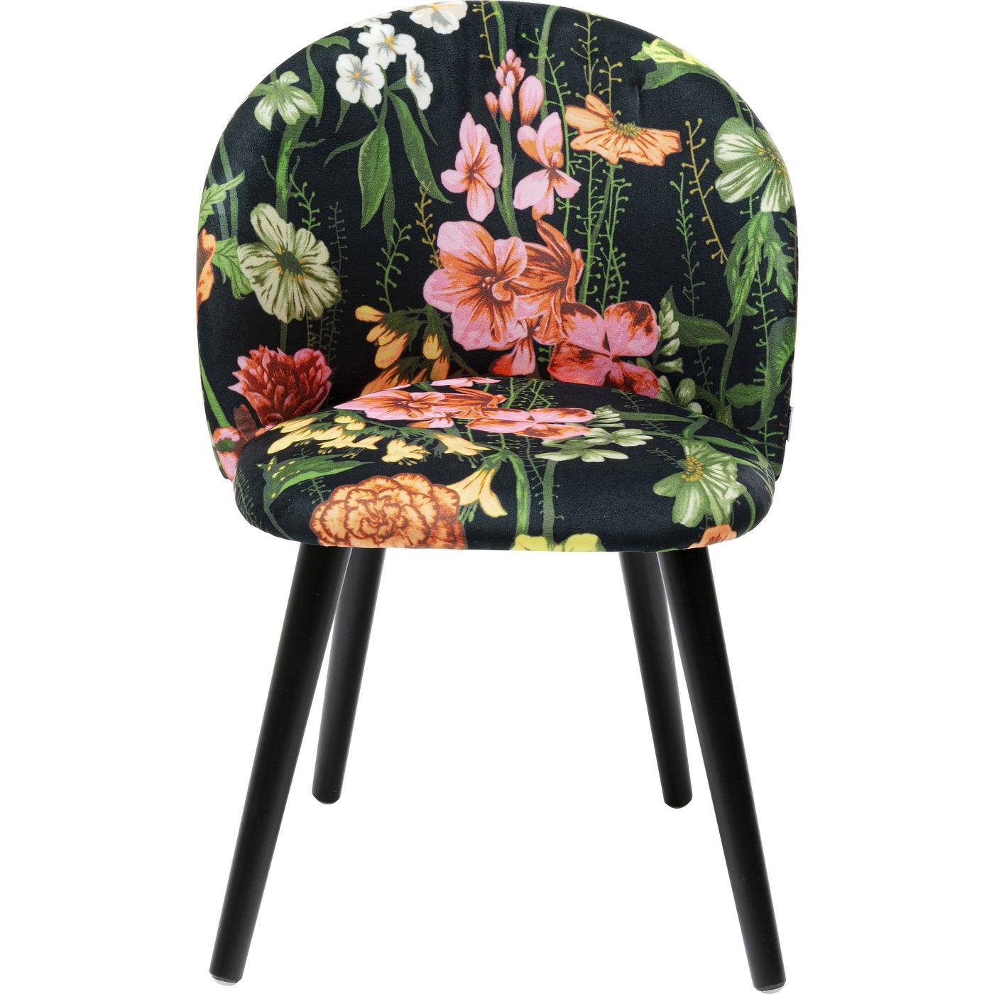 Chaise en tissu noir imprimés fleurs et pin