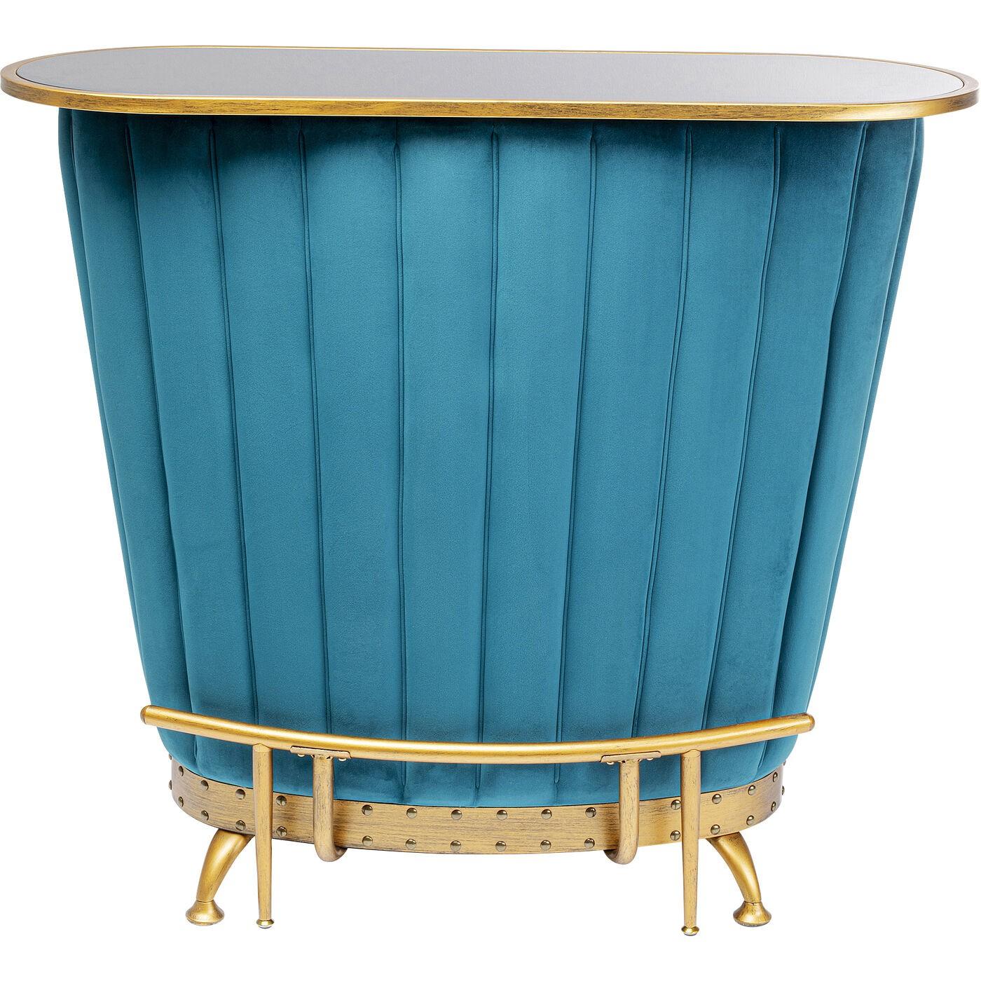 Bar velours bleu et acier doré