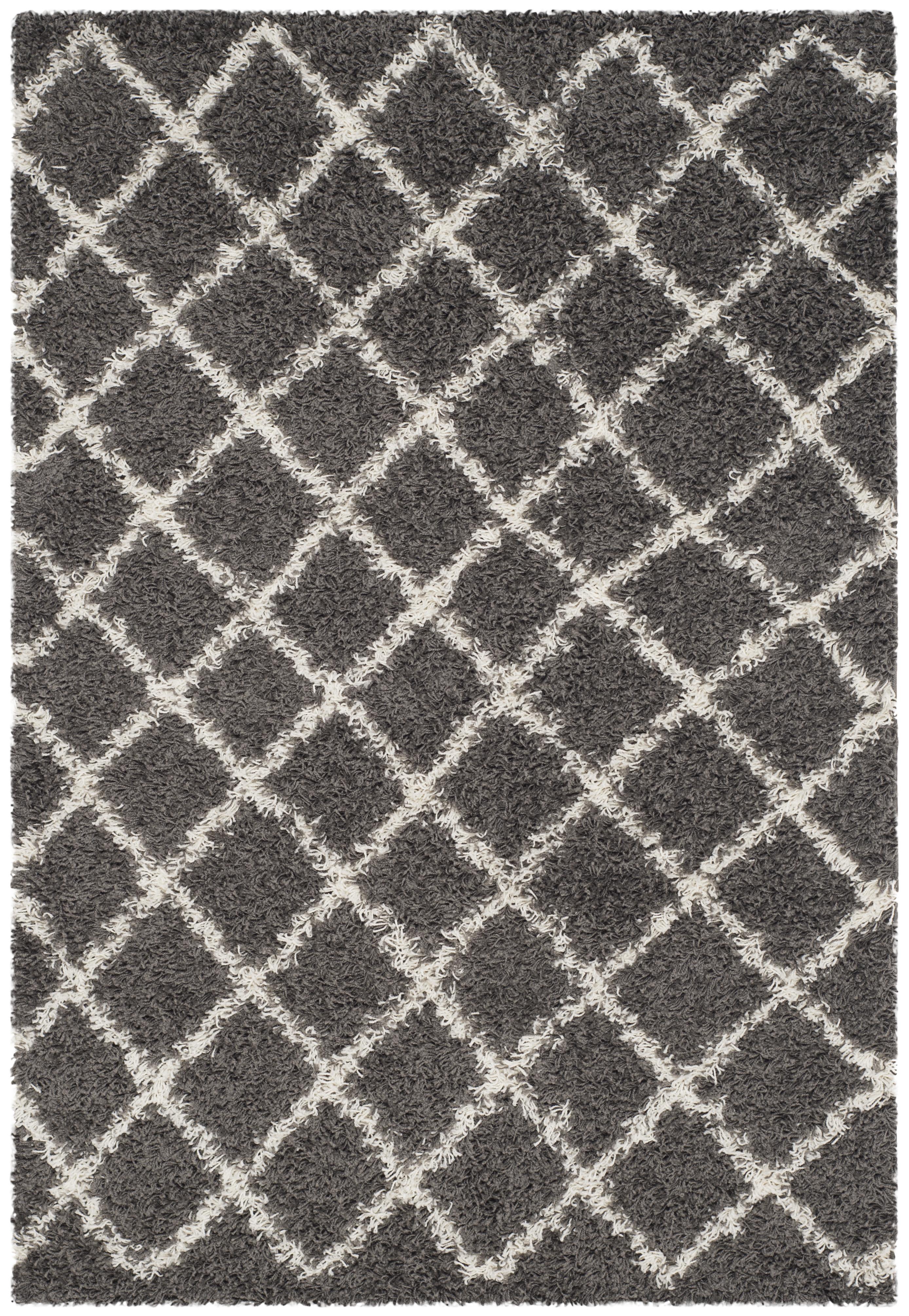 Tapis de salon contemporain  gris foncé et ivoire 121x182