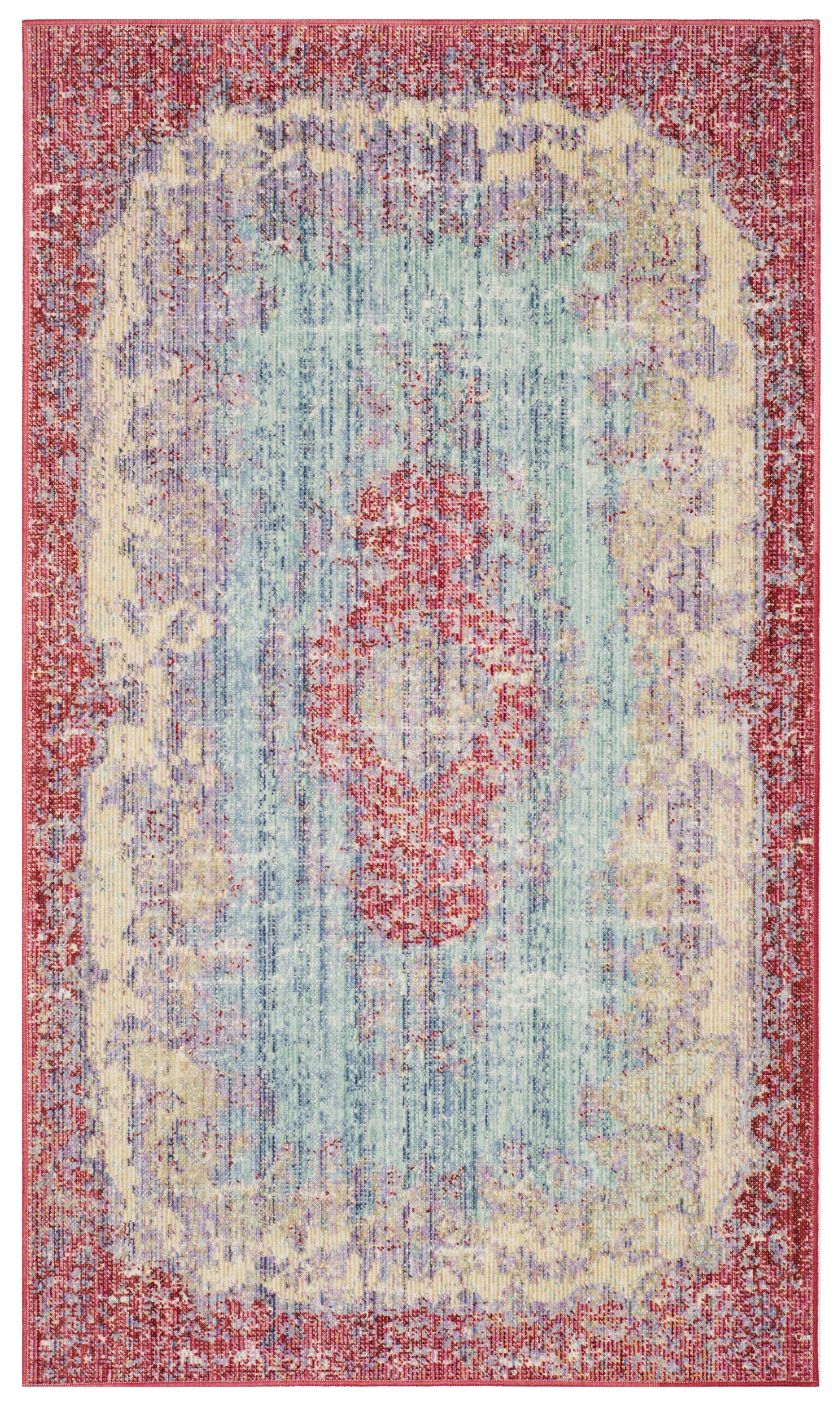 Tapis de salon d'inspiration vintage bleu clair et fuchsia 120x180