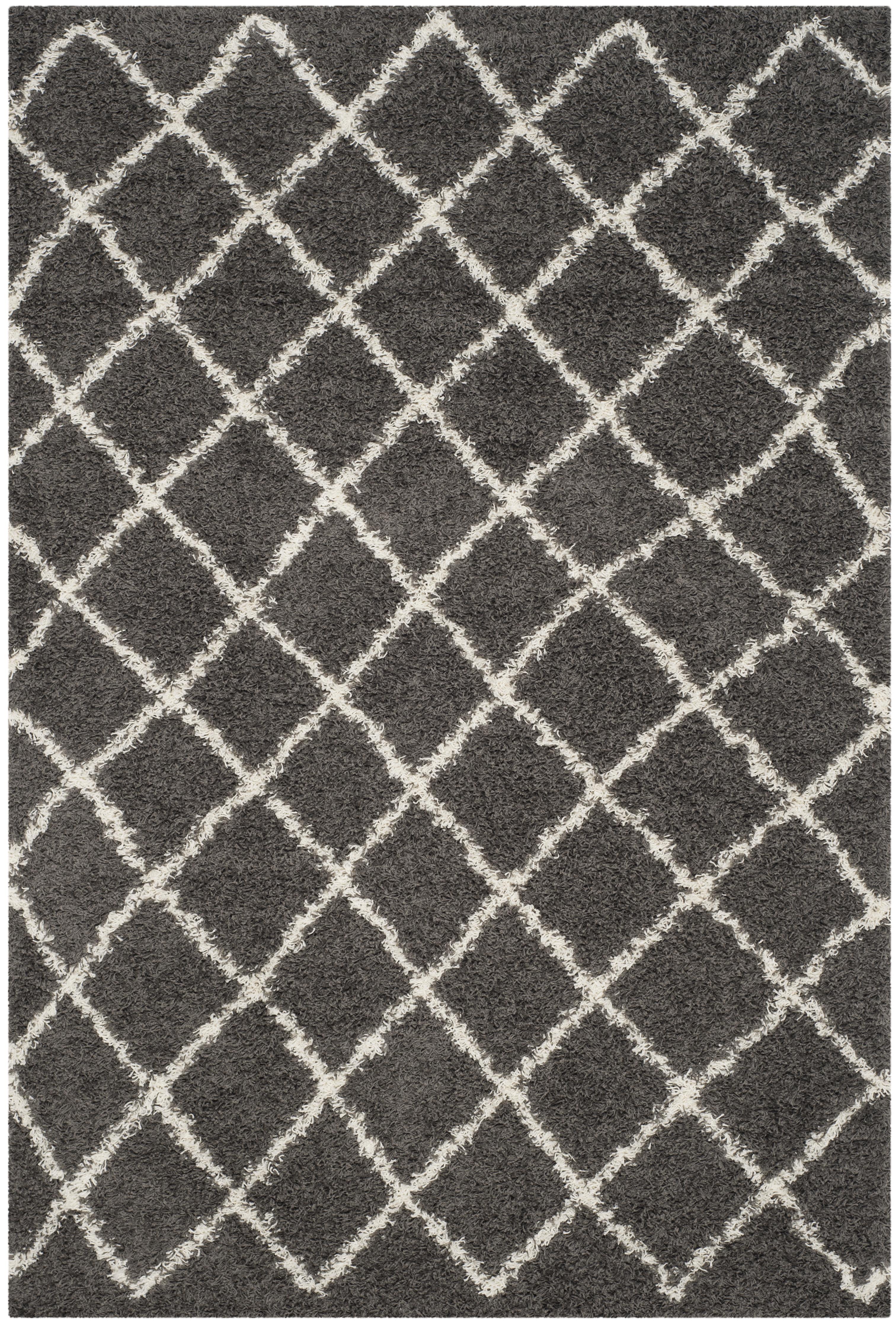 Tapis de salon contemporain  gris foncé et ivoire 182x274