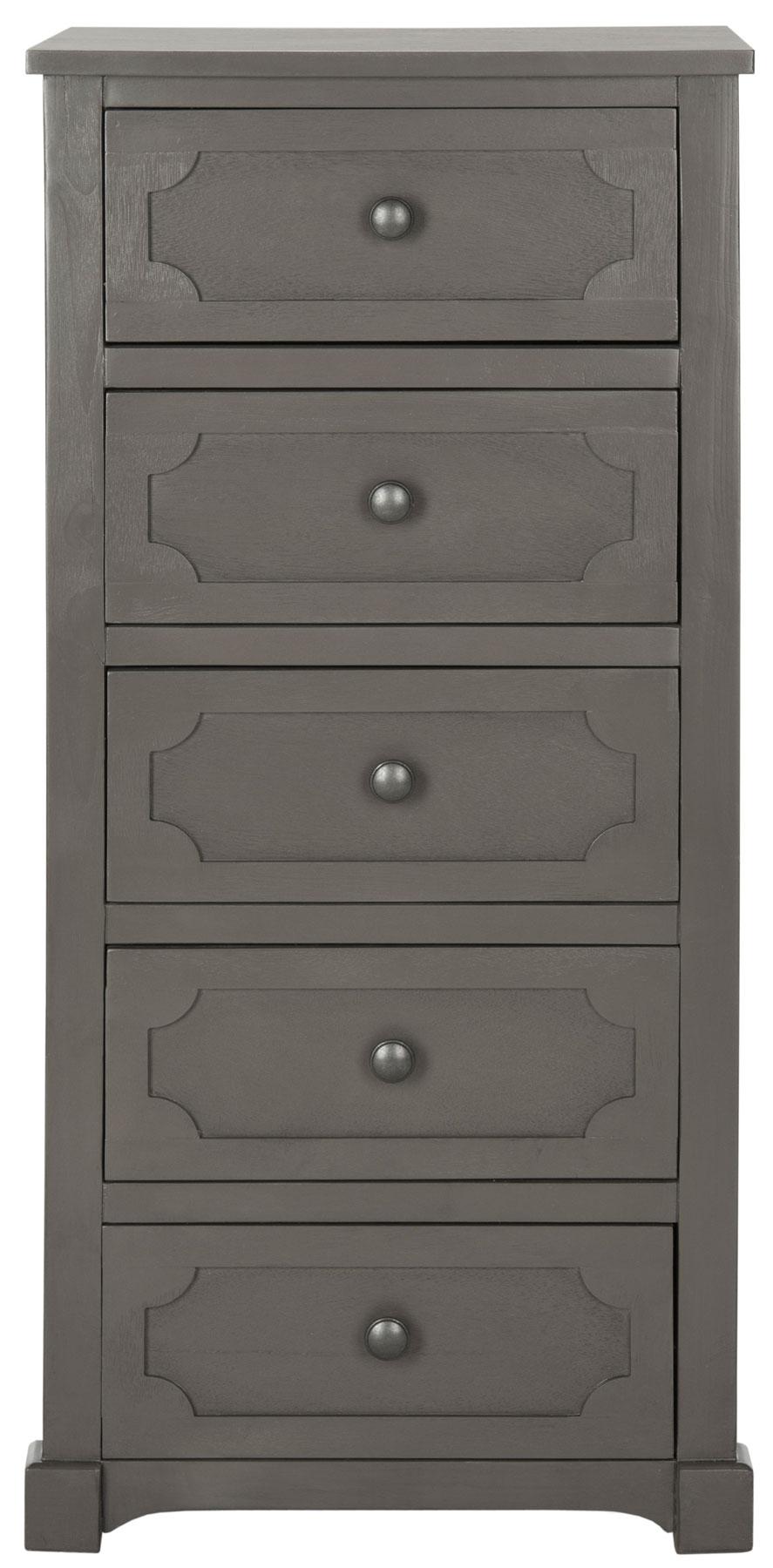 Commode 5 tiroirs en bois de pin gris