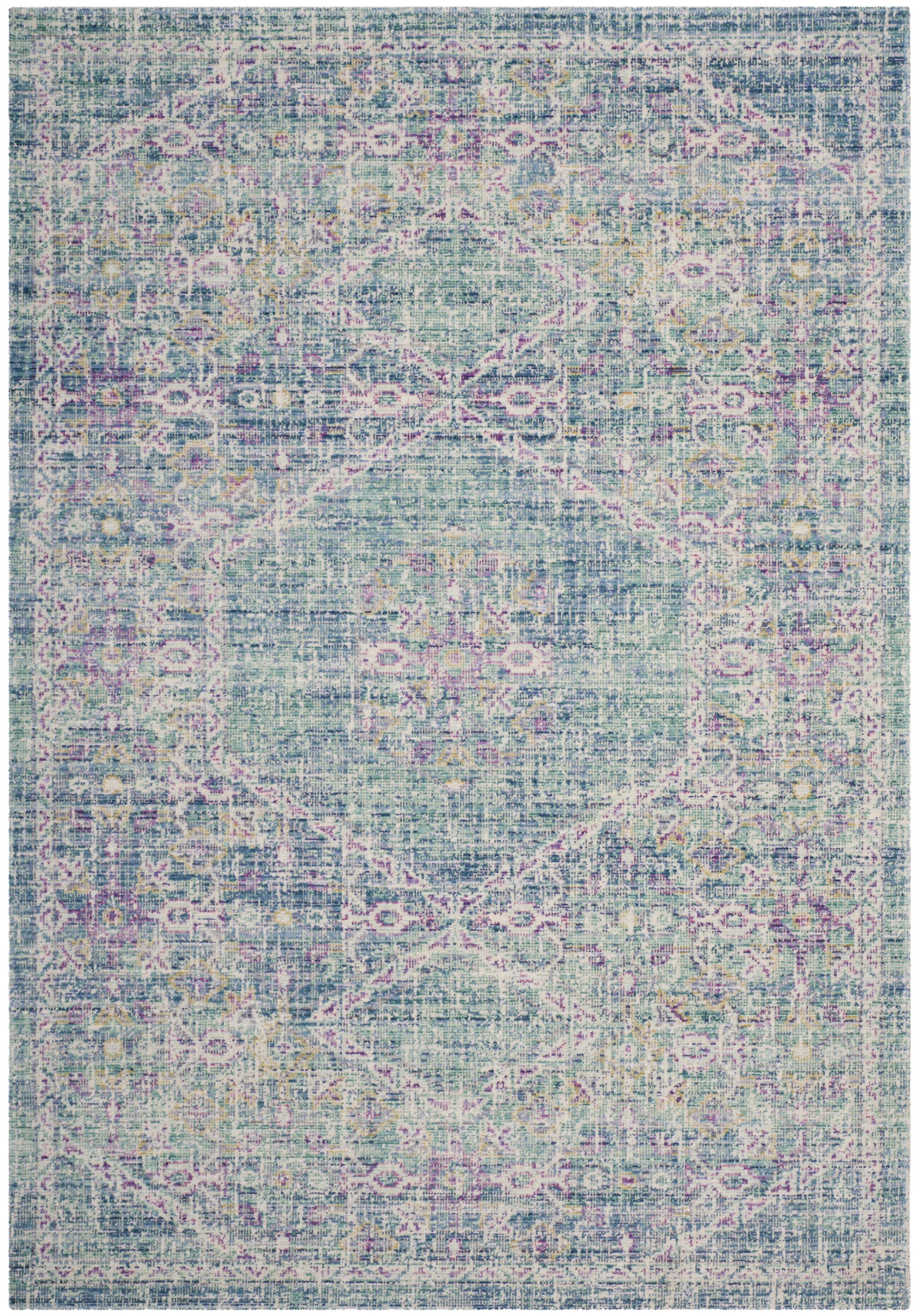 Tapis de salon d'inspiration vintage  bleu et multicolore 160x230