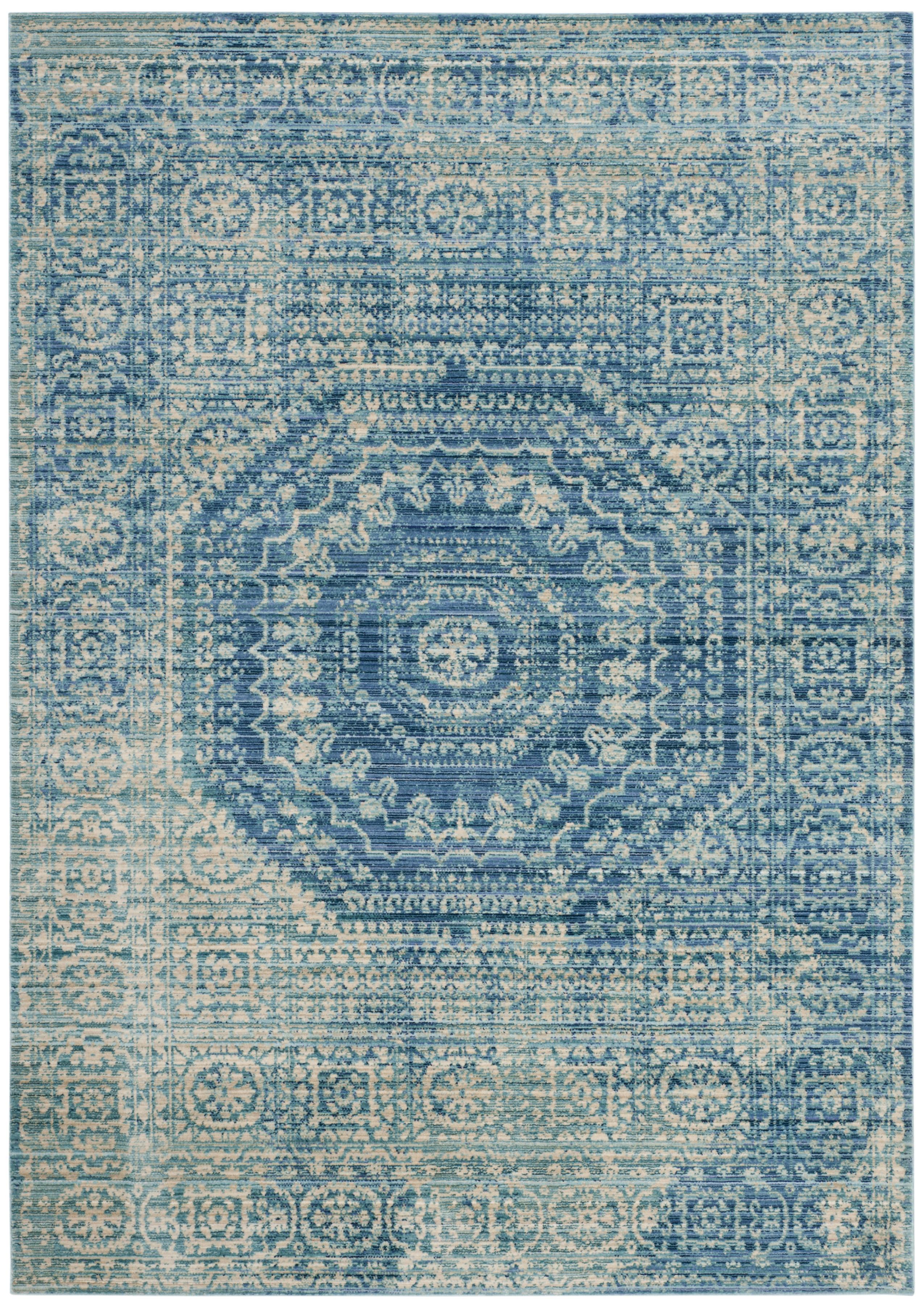 Tapis de salon d'inspiration vintage bleu et multicolore 120x180