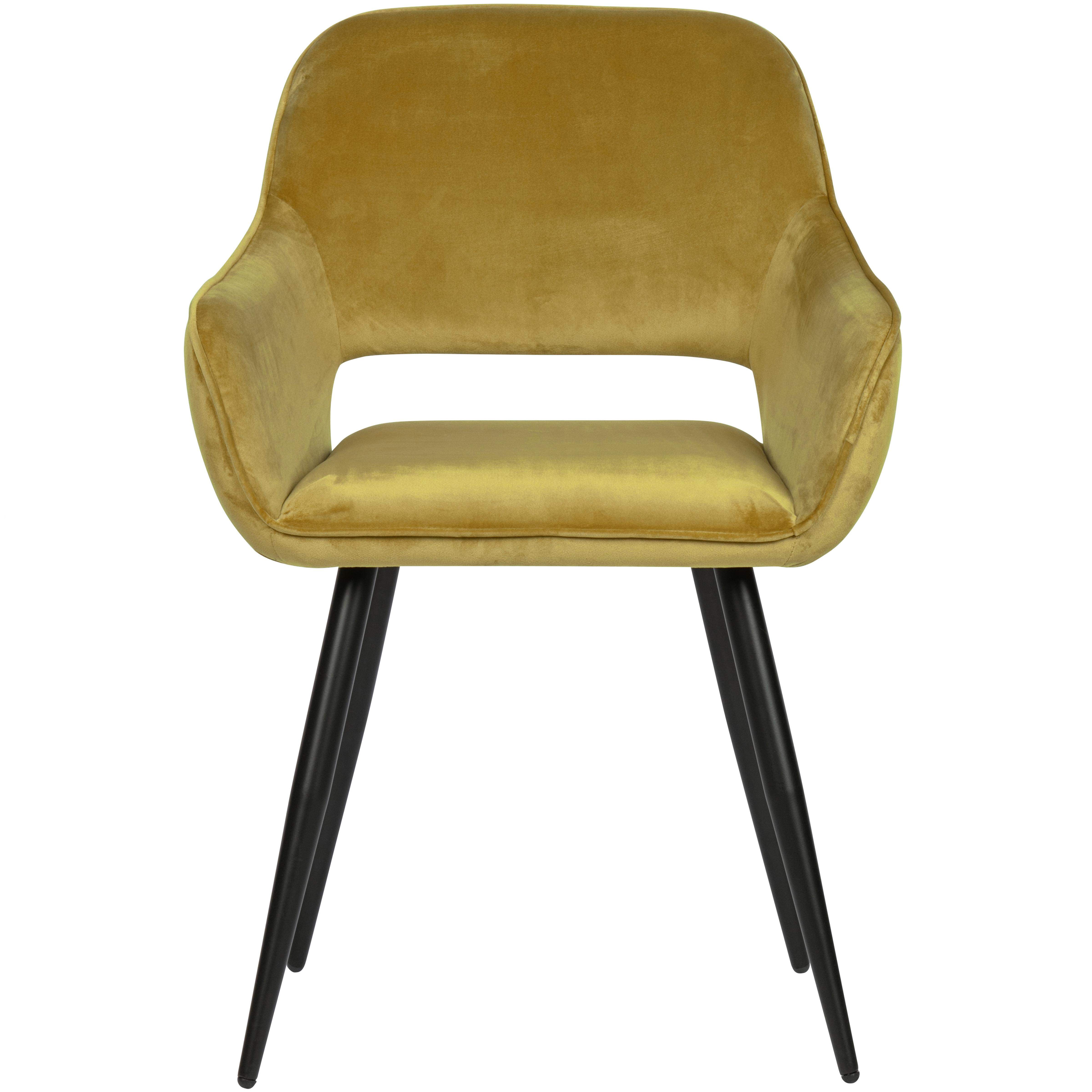 maison du monde 2 fauteuils de table en velours jaune moutarde