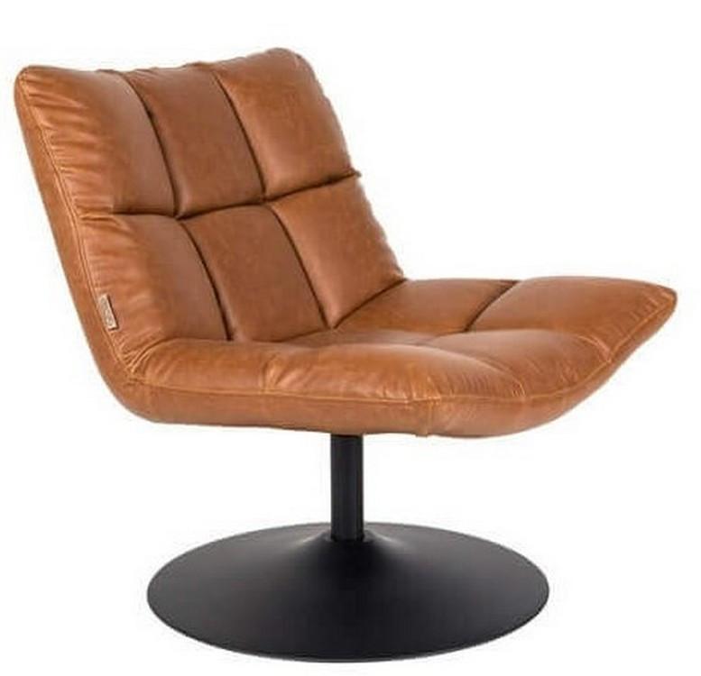 Fauteuil design pivotant en aspect cuir marron