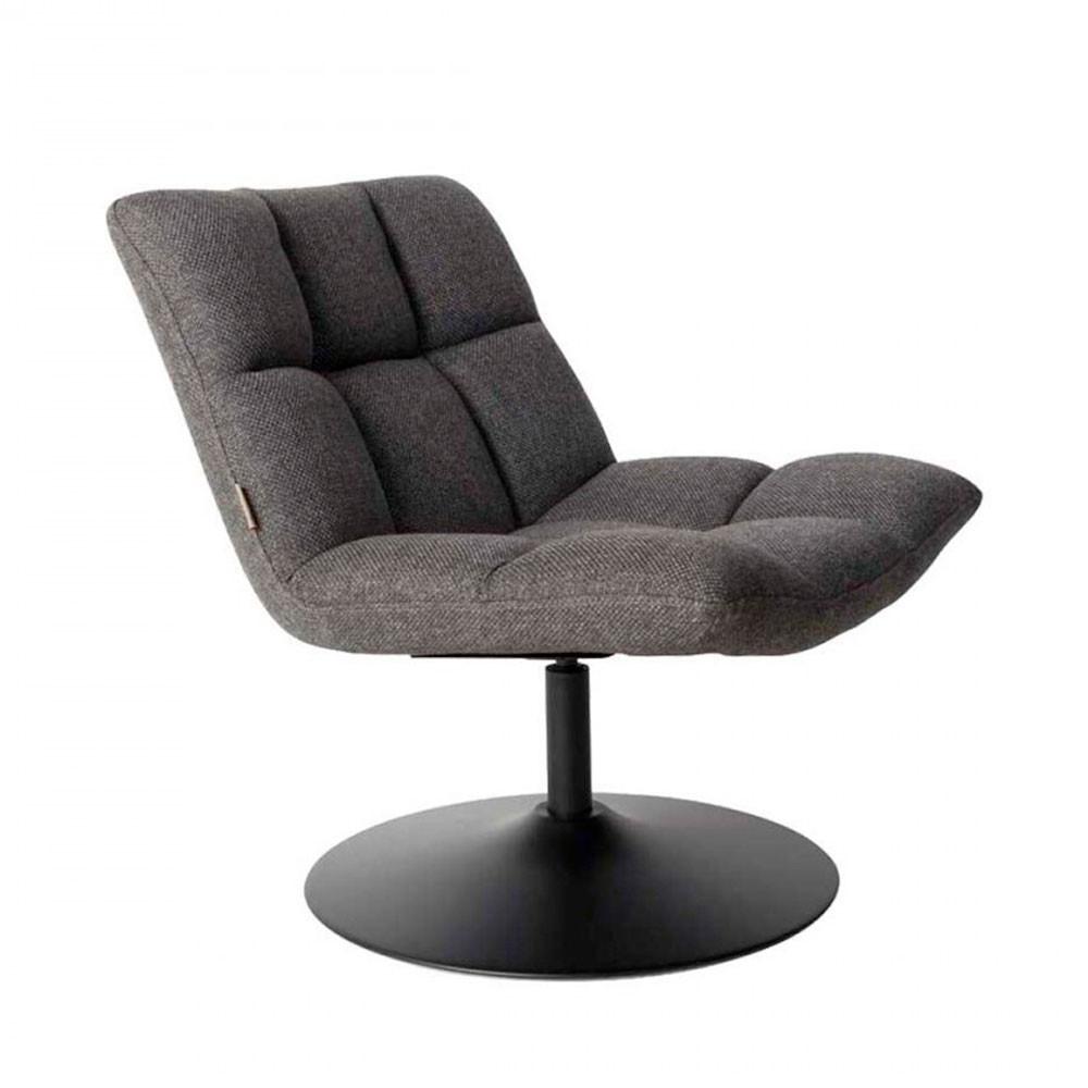 Fauteuil tissu pivotant lounge gris anthracite