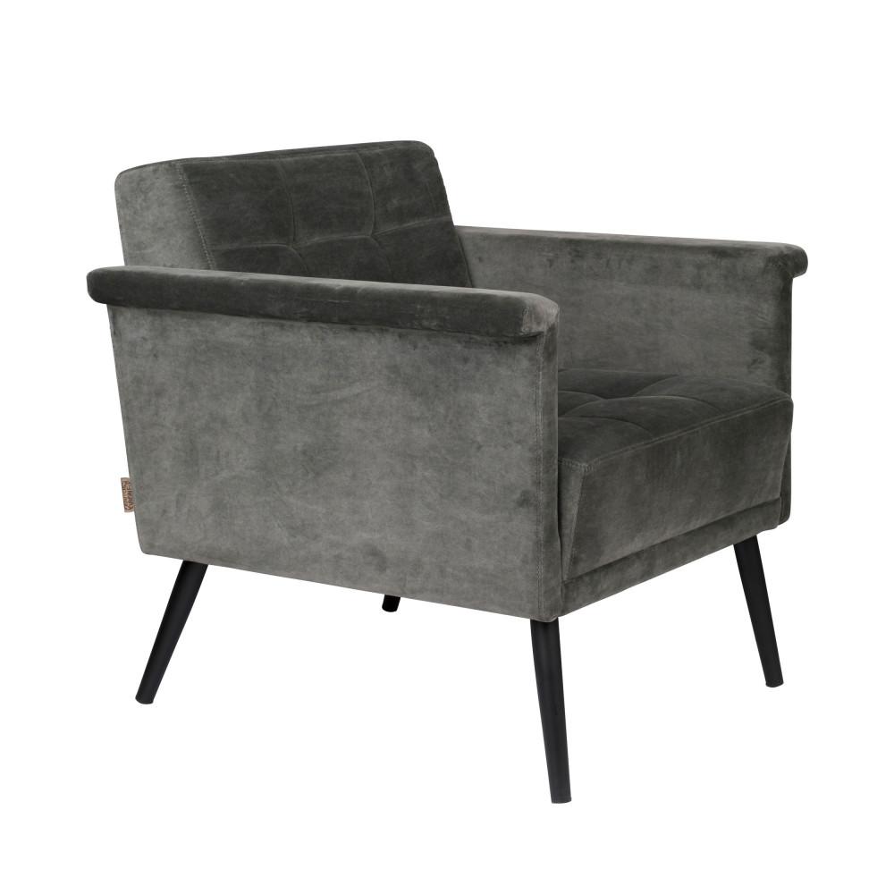 Fauteuil vintage en velours gris