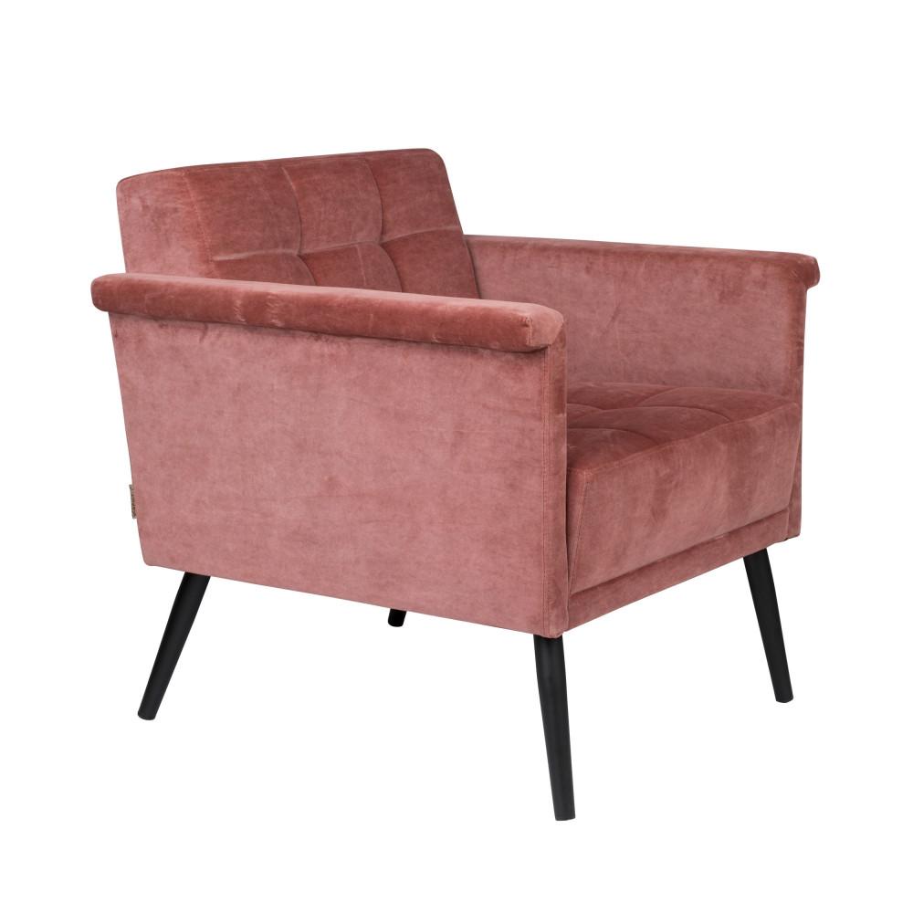 Fauteuil vintage en velours rose
