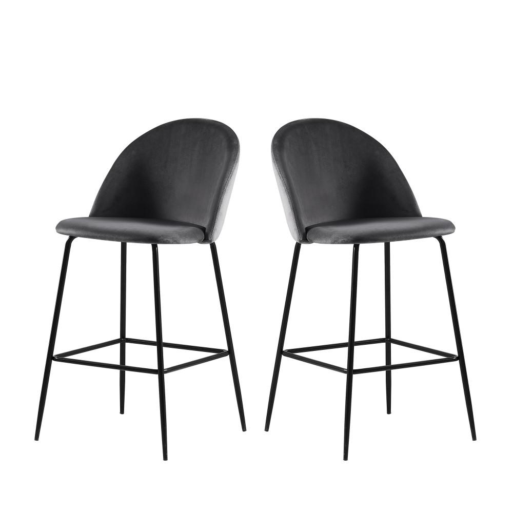 2 fauteuils de bar 65cm velours gris pieds noirs