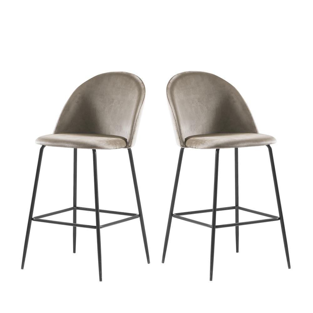 2 fauteuils de bar 65cm velours taupe pieds noirs