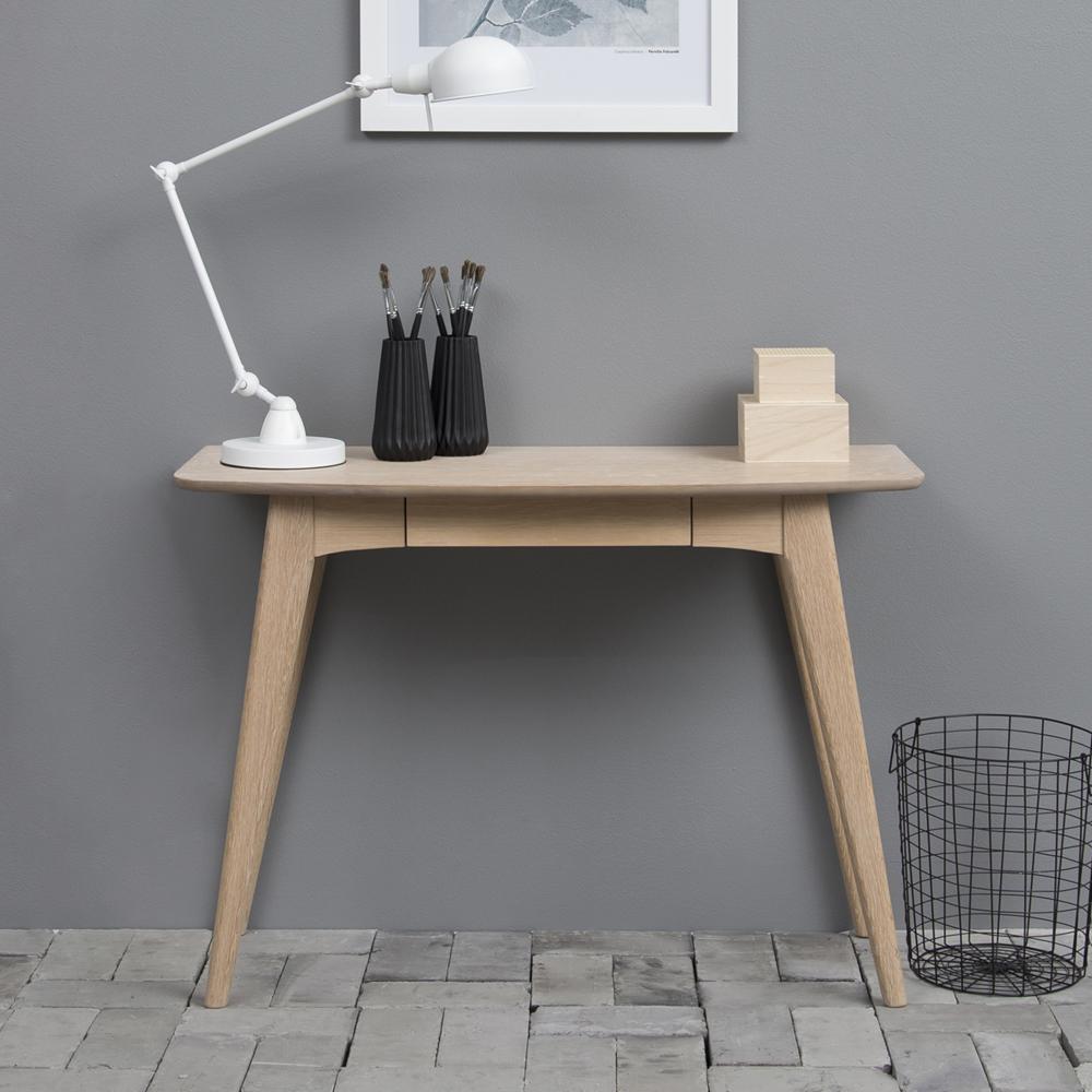 Bureau avec tiroir minimaliste chêne blanchi