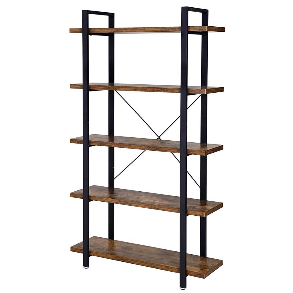Bibliothèque 5 niveaux style industriel effet bois foncé noir
