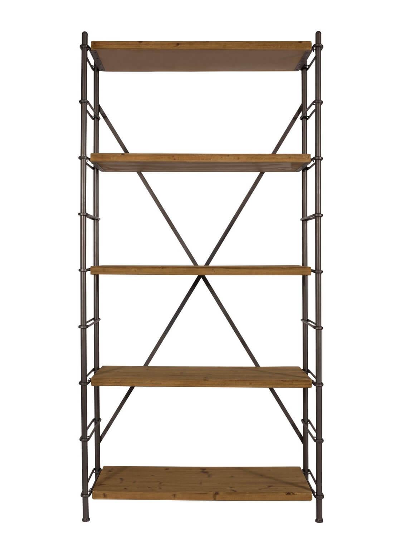 Etagere industrielle en bois et acier