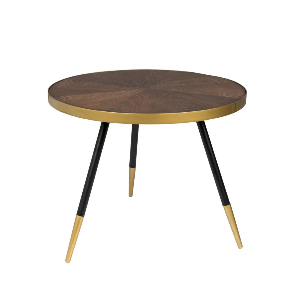 Table basse ronde en métal et bois foncé D61cm