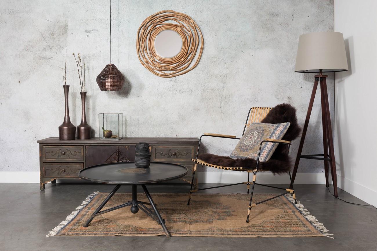 Table de salon style colonial en acier noir