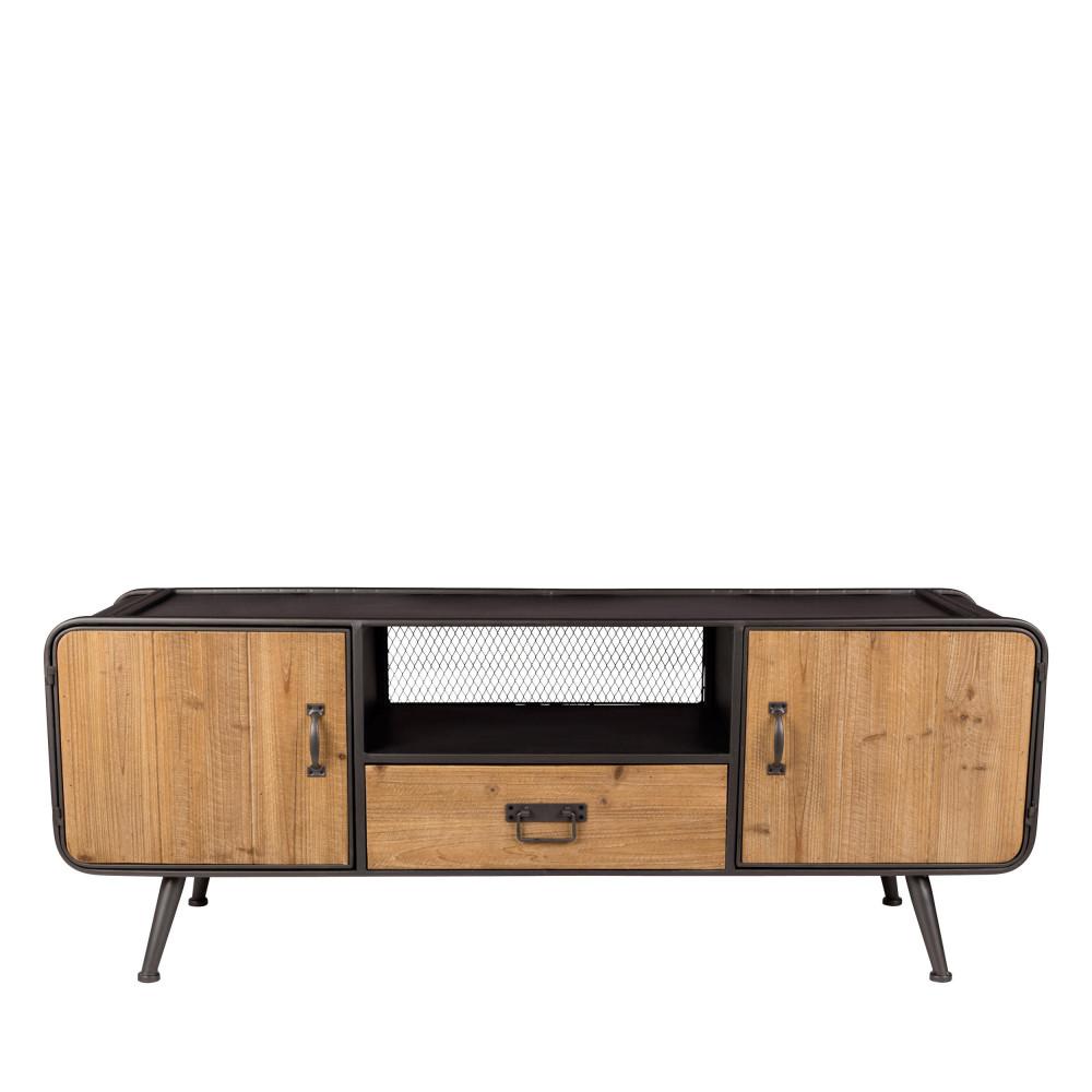 Meuble TV en bois clair et métal