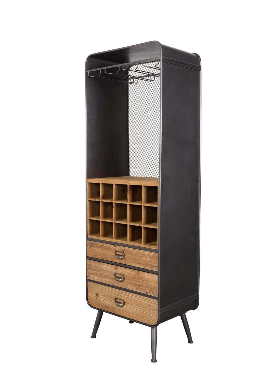 Rangement bar en bois et acier