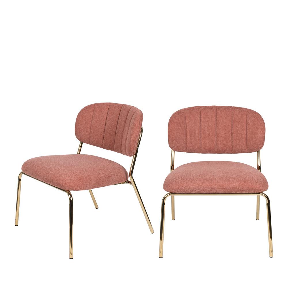 2 chaises lounge pieds dorés vieux rose
