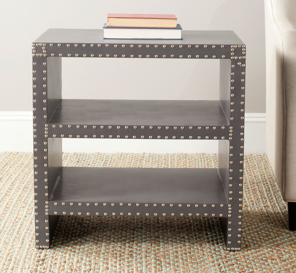 Table d'appoint en bois et similicuir gris