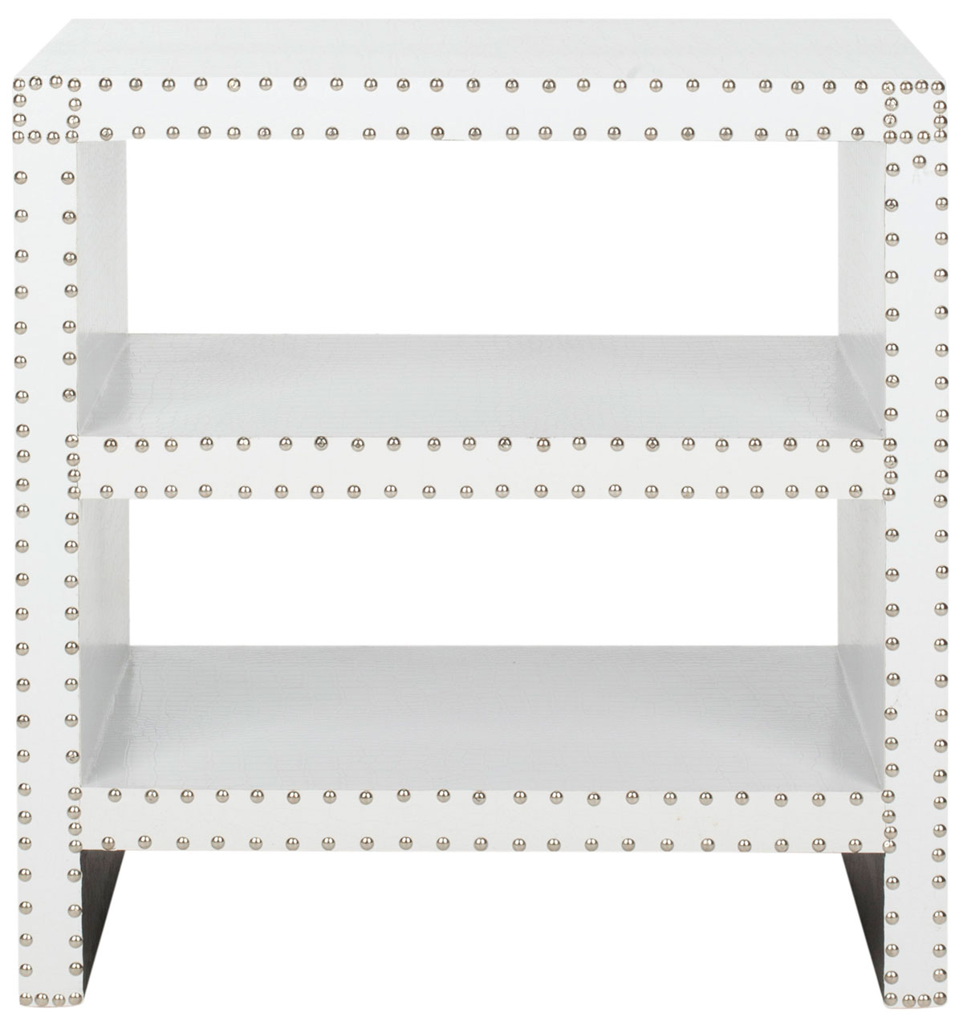 Table d'appoint en bois et similicuir crocodile blanc