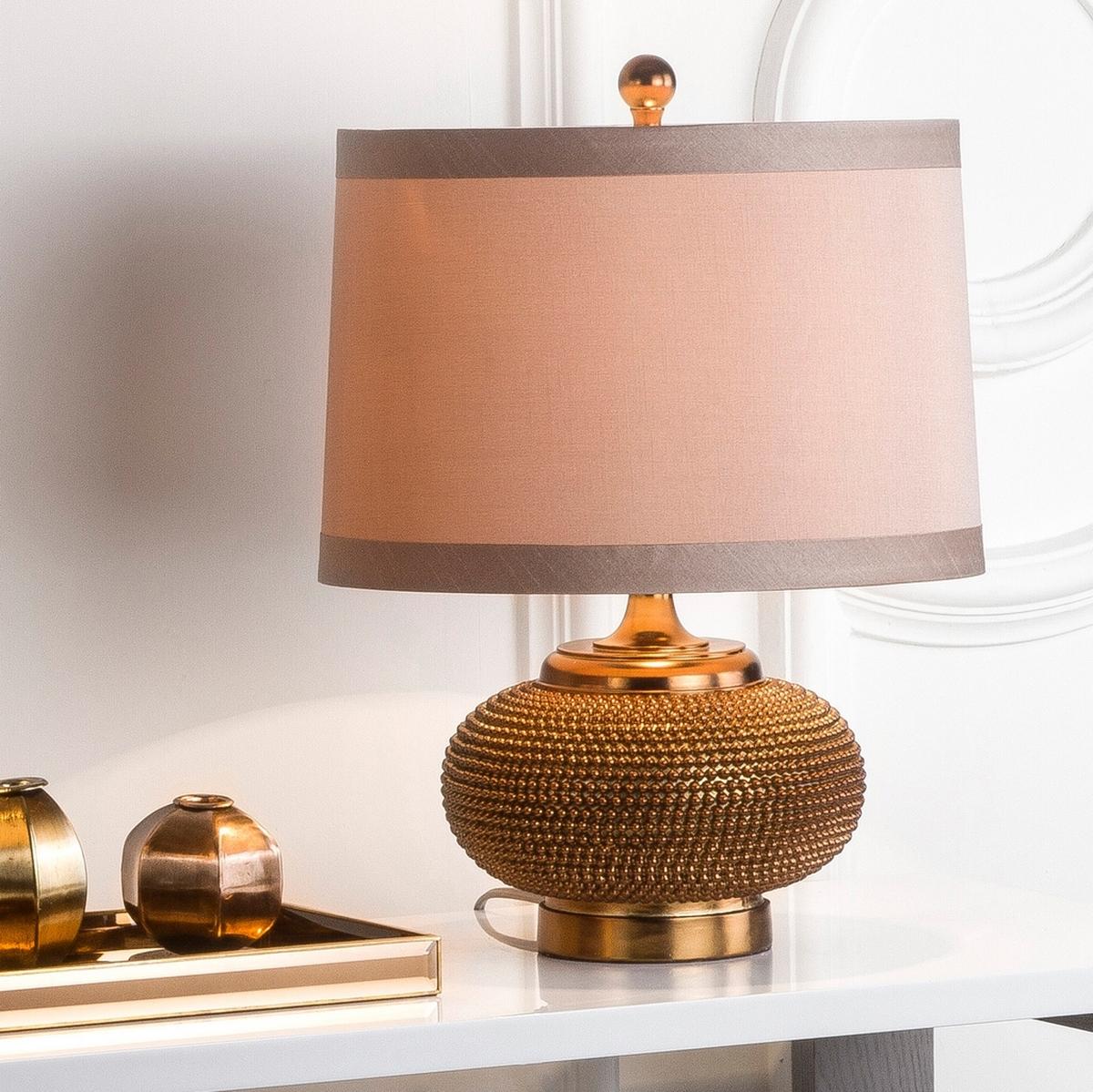 Lampe à poser abat-jour en tissu et pied en résine cuivre (x2)